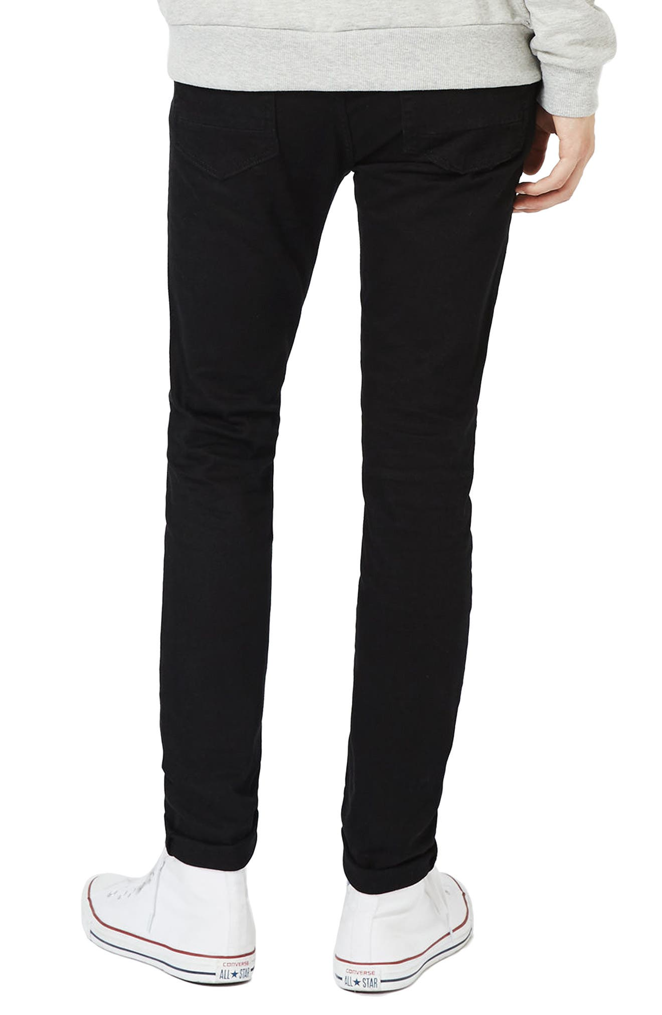 TOPMAN, Skinny Stretch Jeans, Alternate thumbnail 2, color, BLACK