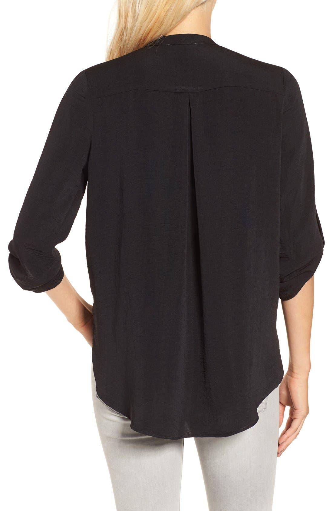 ---, Twist Front Woven Shirt, Alternate thumbnail 4, color, 001
