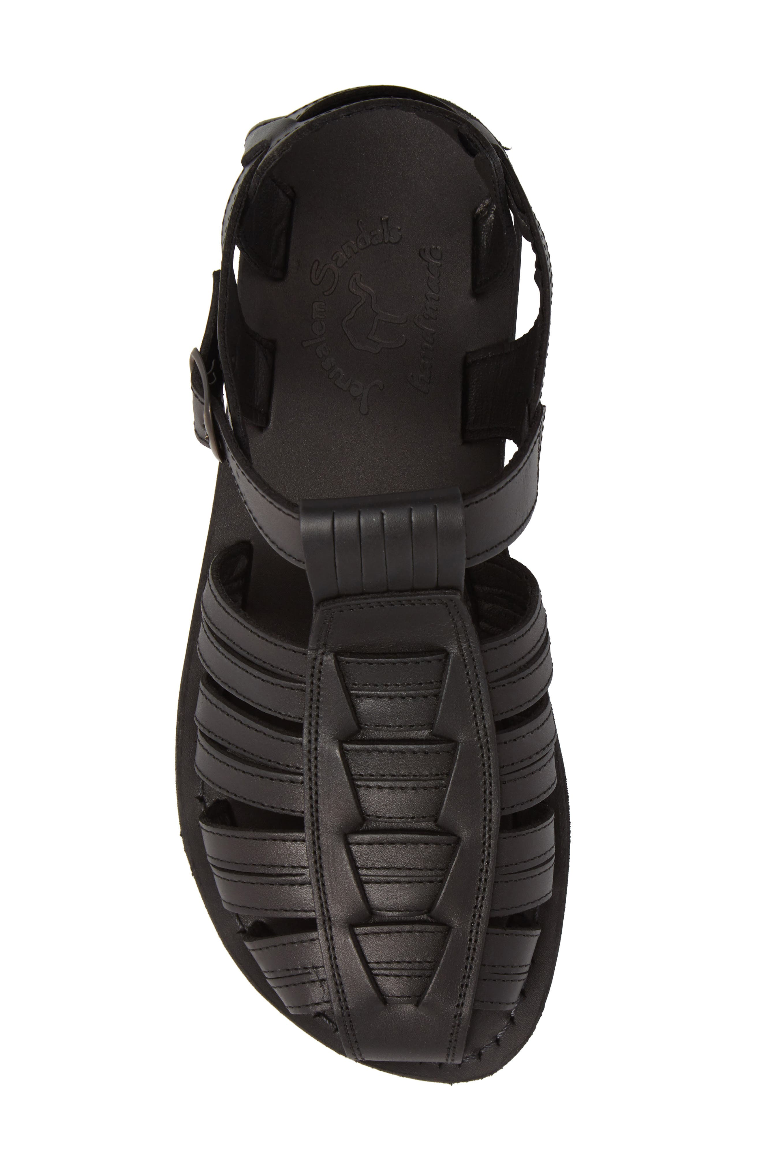 JERUSALEM SANDALS, Barak Fisherman Sandal, Alternate thumbnail 5, color, BLACK LEATHER