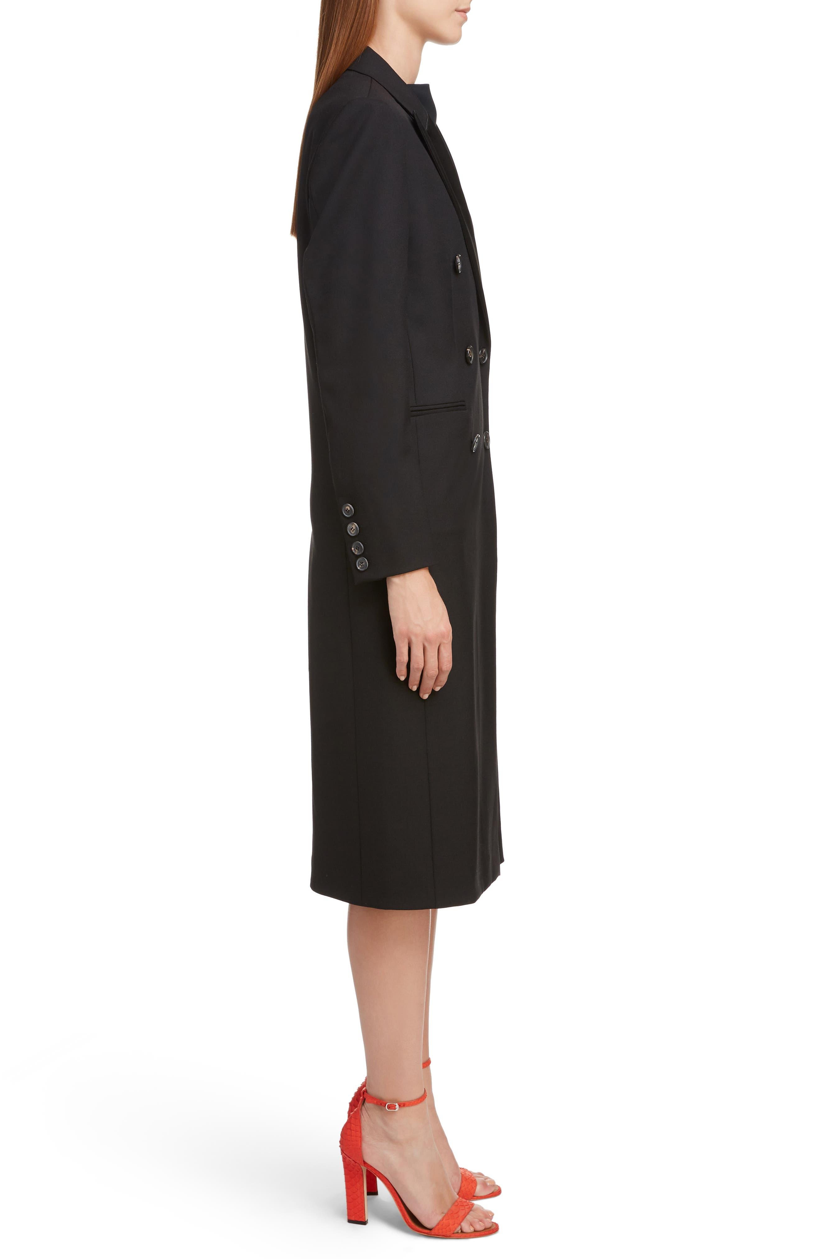 VICTORIA BECKHAM, Wool & Mohair Tuxedo Coat, Alternate thumbnail 3, color, BLACK