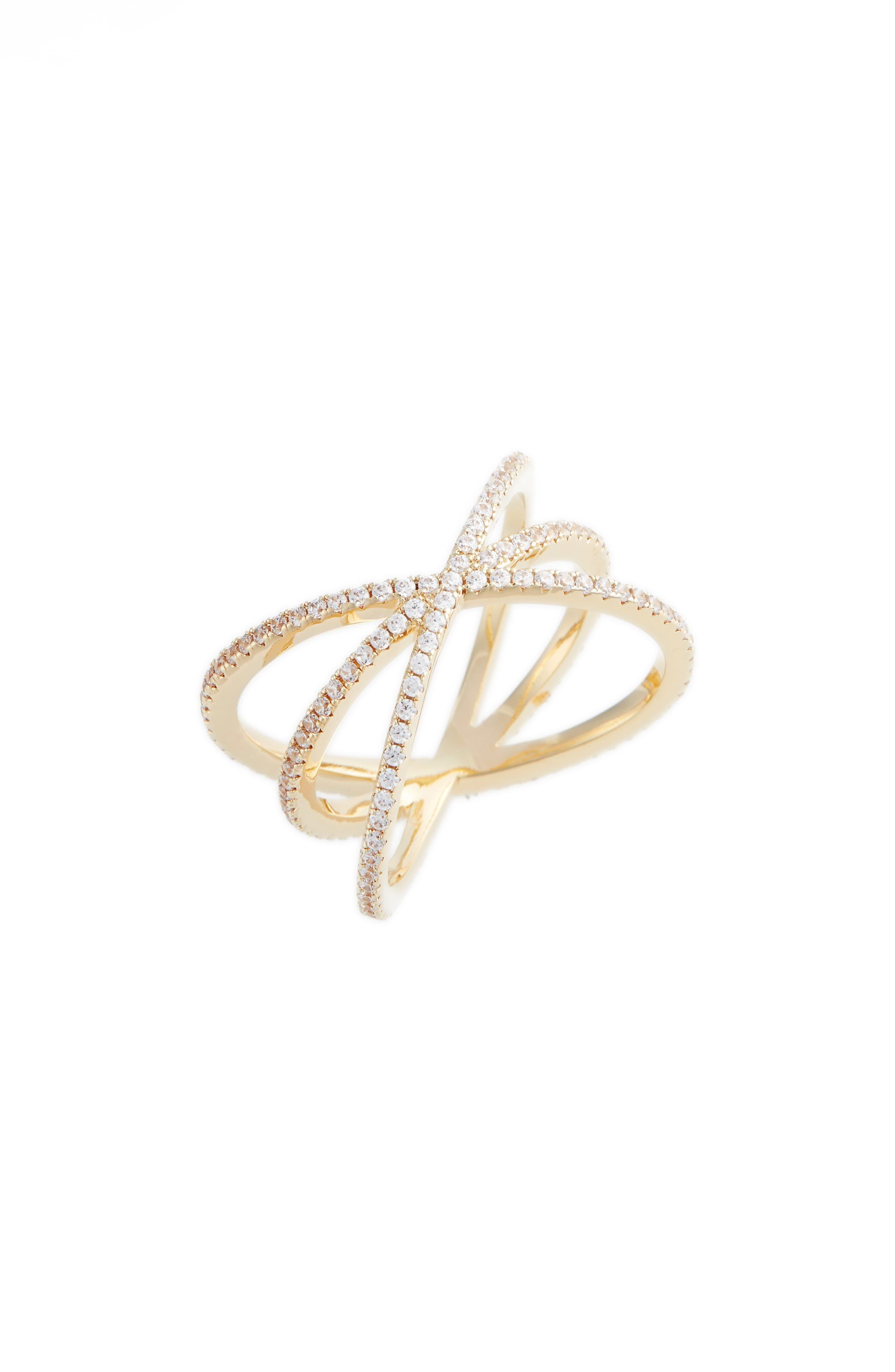 NORDSTROM, Pavé Crisscross Ring, Main thumbnail 1, color, CLEAR- GOLD