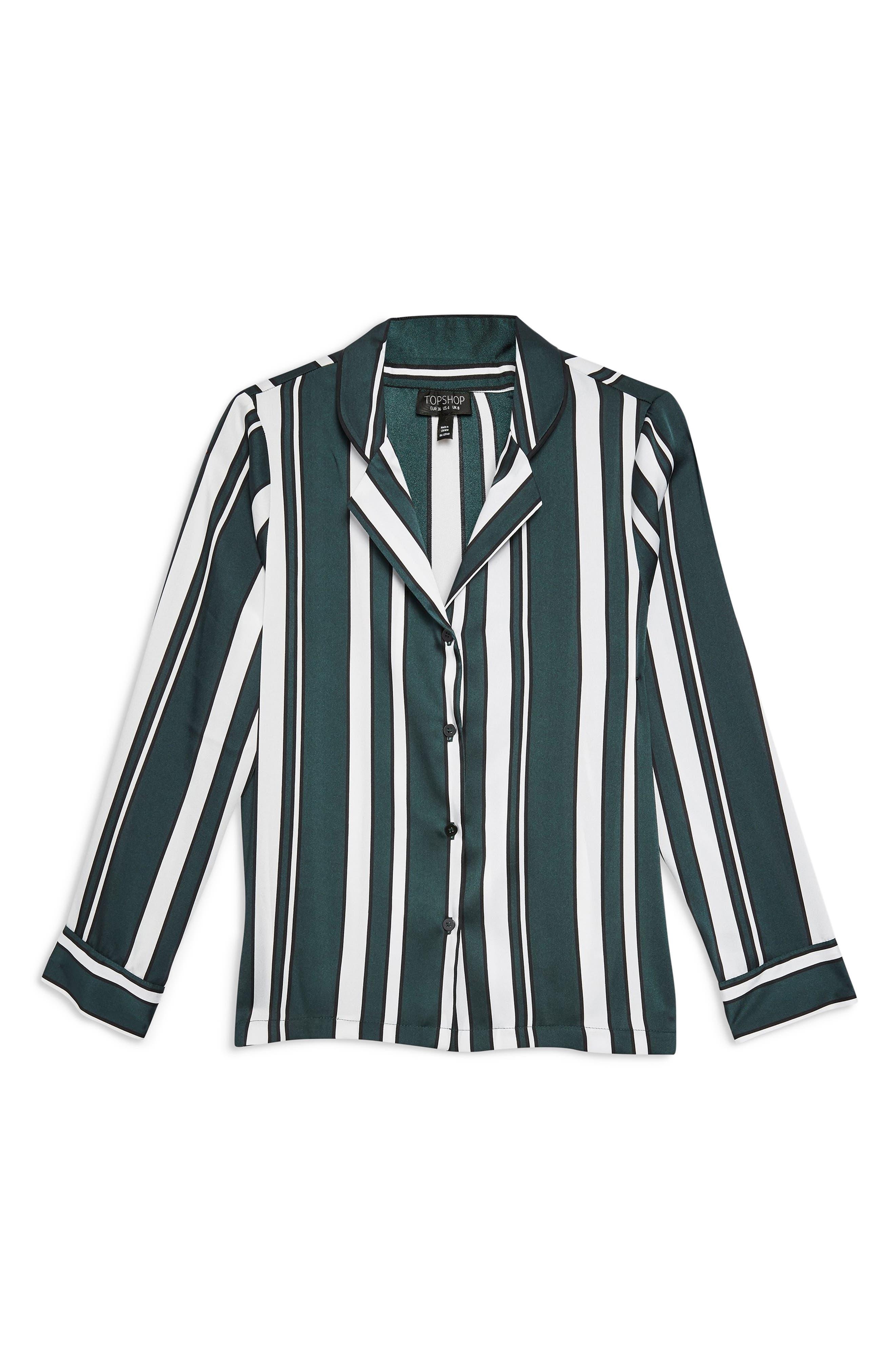 TOPSHOP, Stripe PJ Shirt, Alternate thumbnail 4, color, GREEN MULTI
