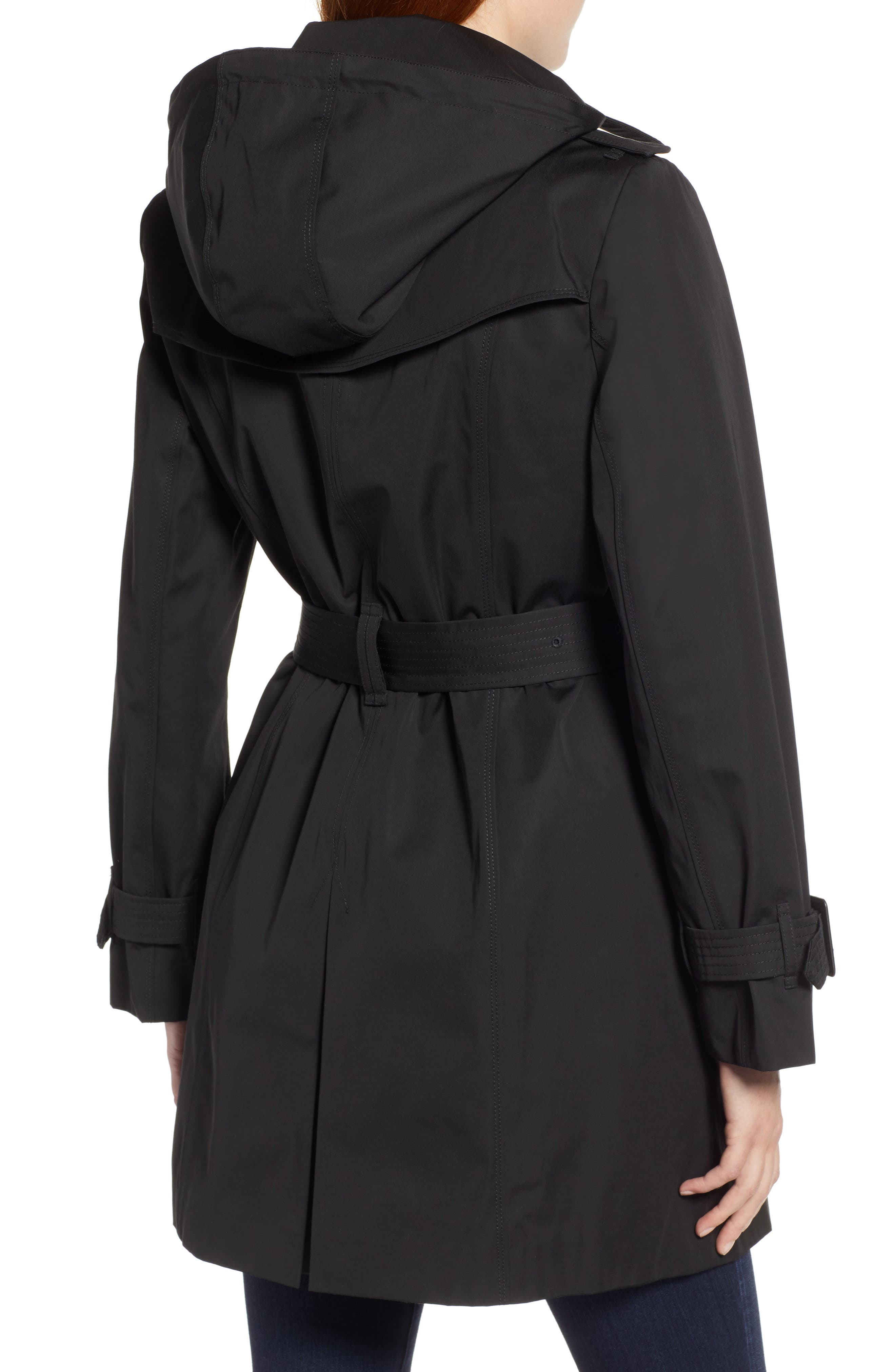 LONDON FOG, Trench Coat with Detachable Liner & Hood, Alternate thumbnail 2, color, BLACK