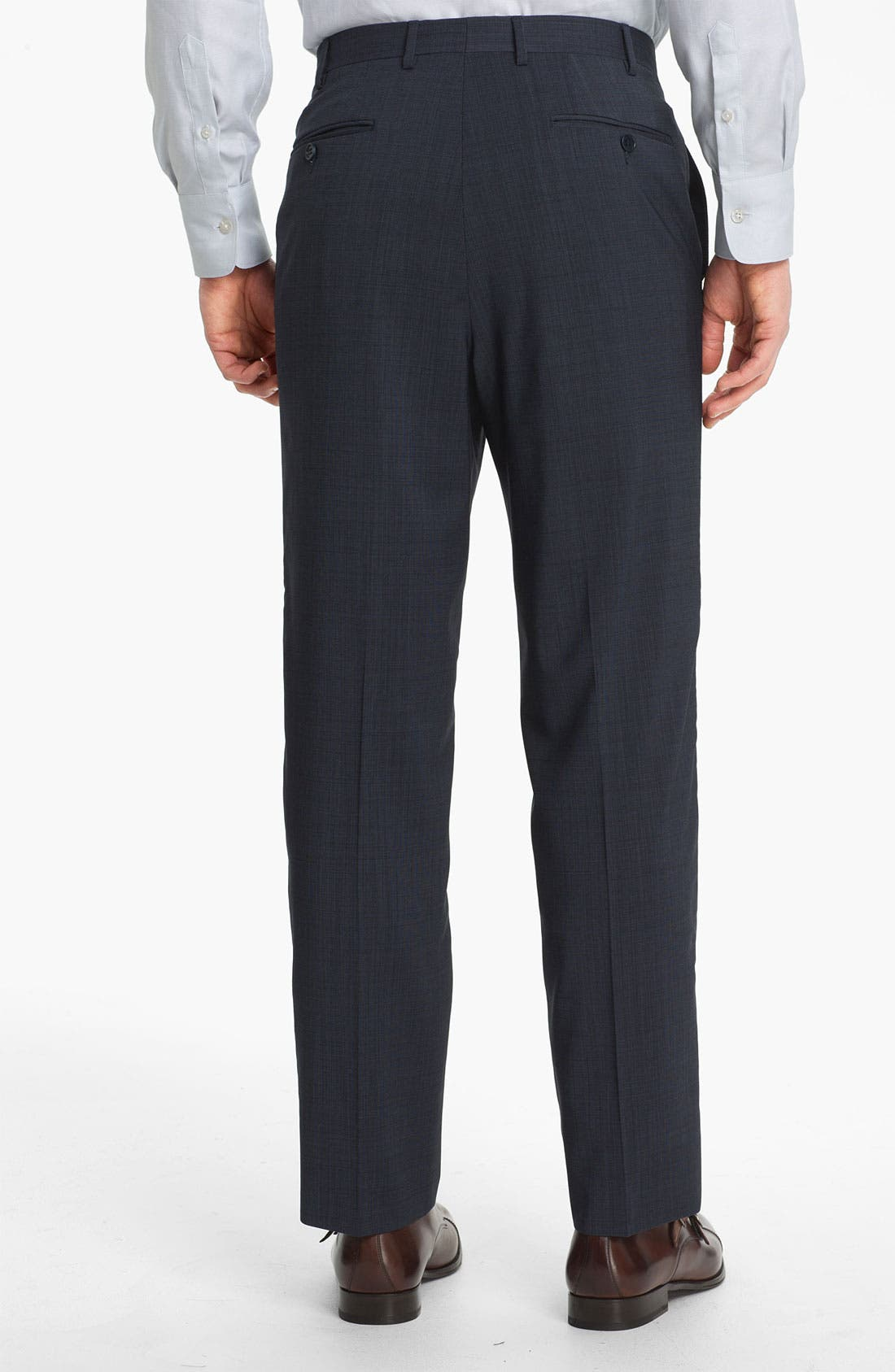 CANALI, Flat Front Wool Trousers, Alternate thumbnail 2, color, BLUE