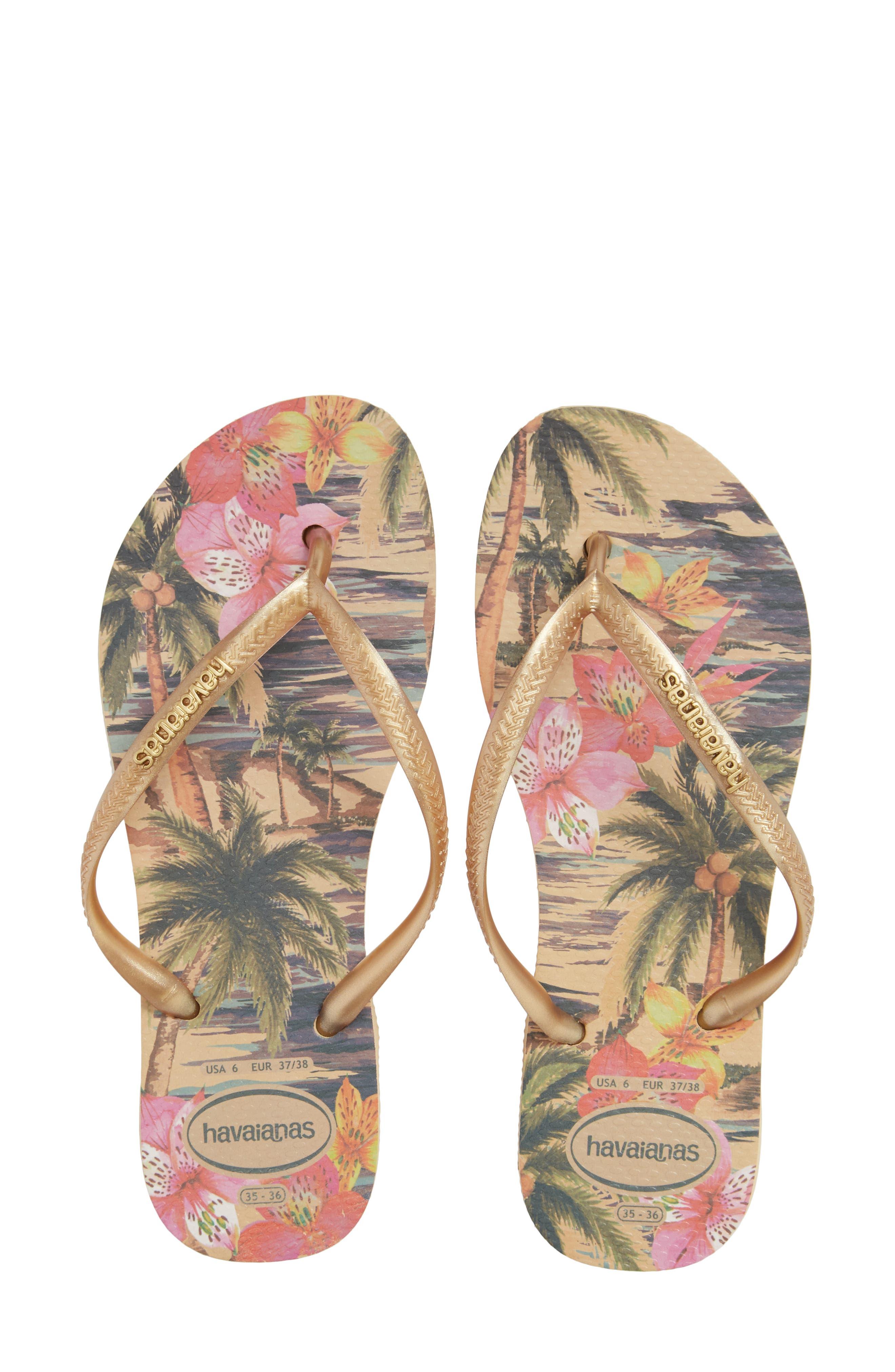 HAVAIANAS 'Slim Tropical' Flip Flop, Main, color, IVORY