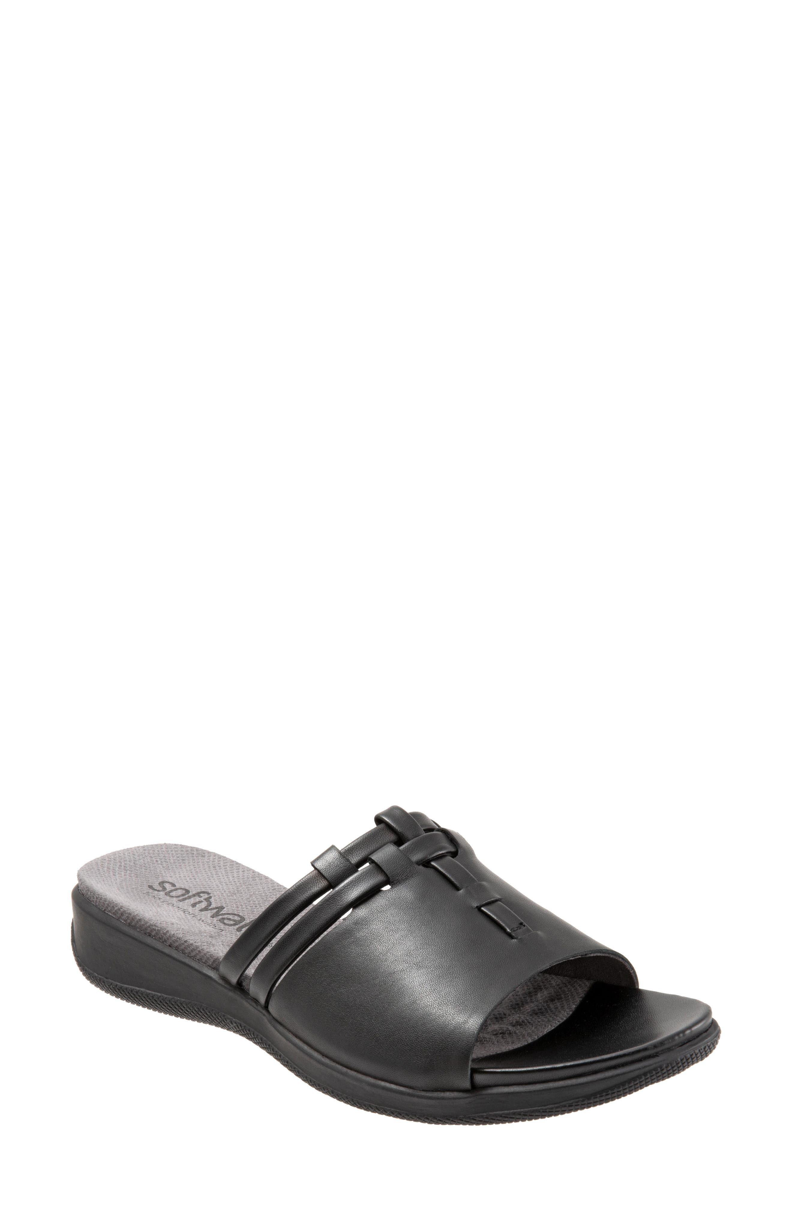 SOFTWALK<SUP>®</SUP>, Tahoma Woven Slide Sandal, Main thumbnail 1, color, BLACK LEATHER