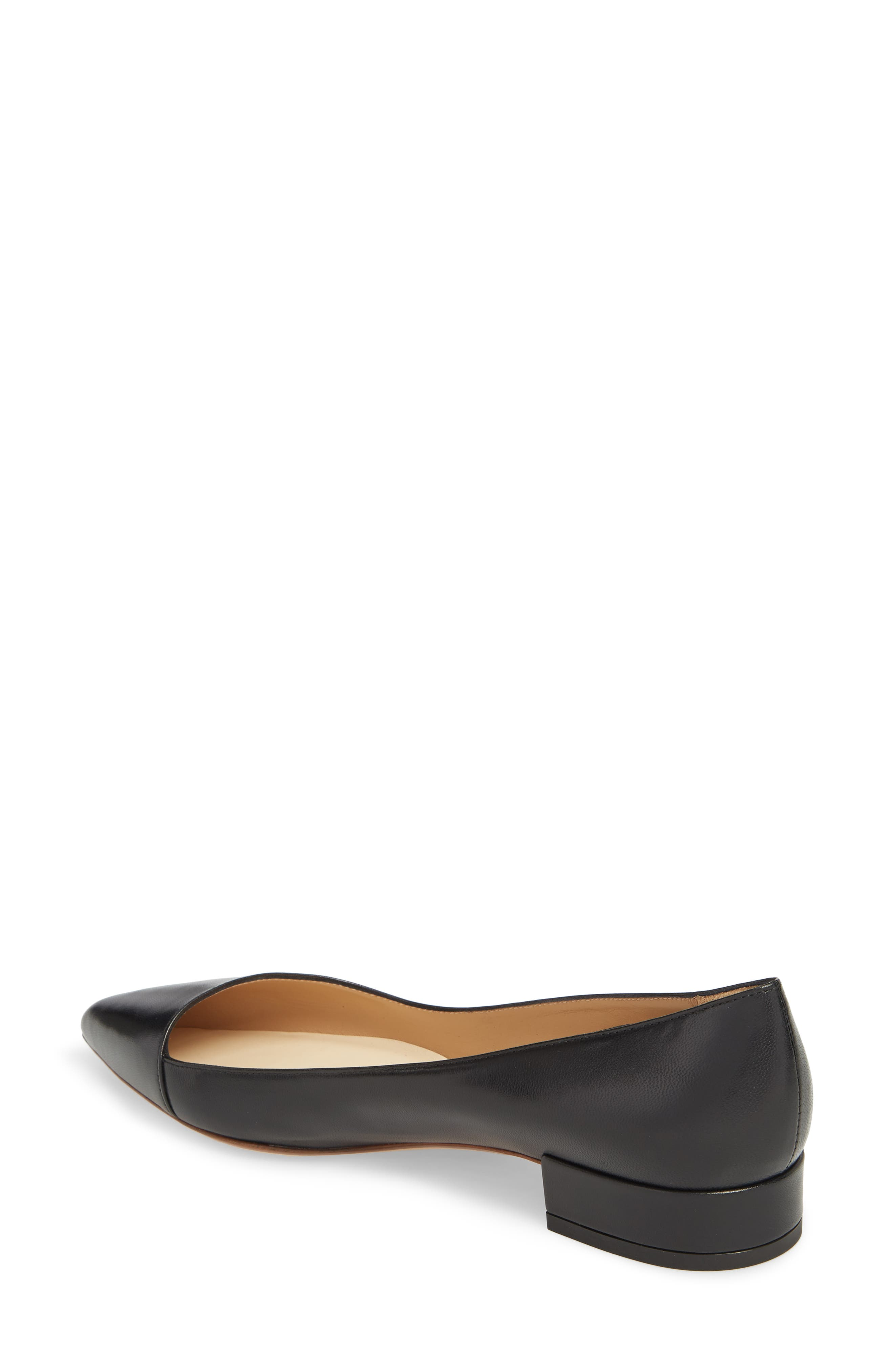 FRANCESCO RUSSO, Asymmetric Pointy Toe Flat, Alternate thumbnail 2, color, BLACK