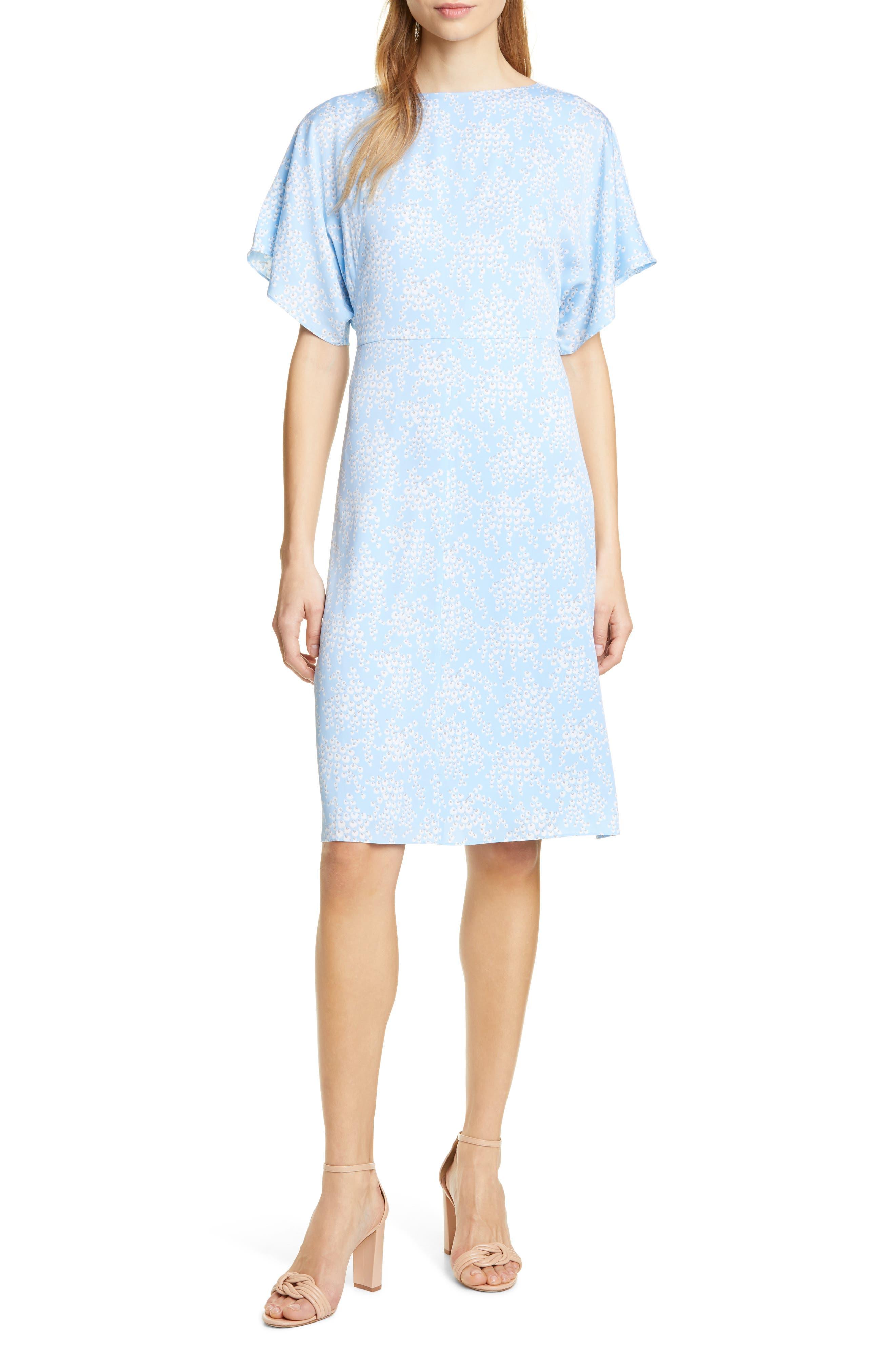 LEWIT, Kimono Sleeve Stretch Silk Dress, Main thumbnail 1, color, BLUE SIDDAL FLORAL
