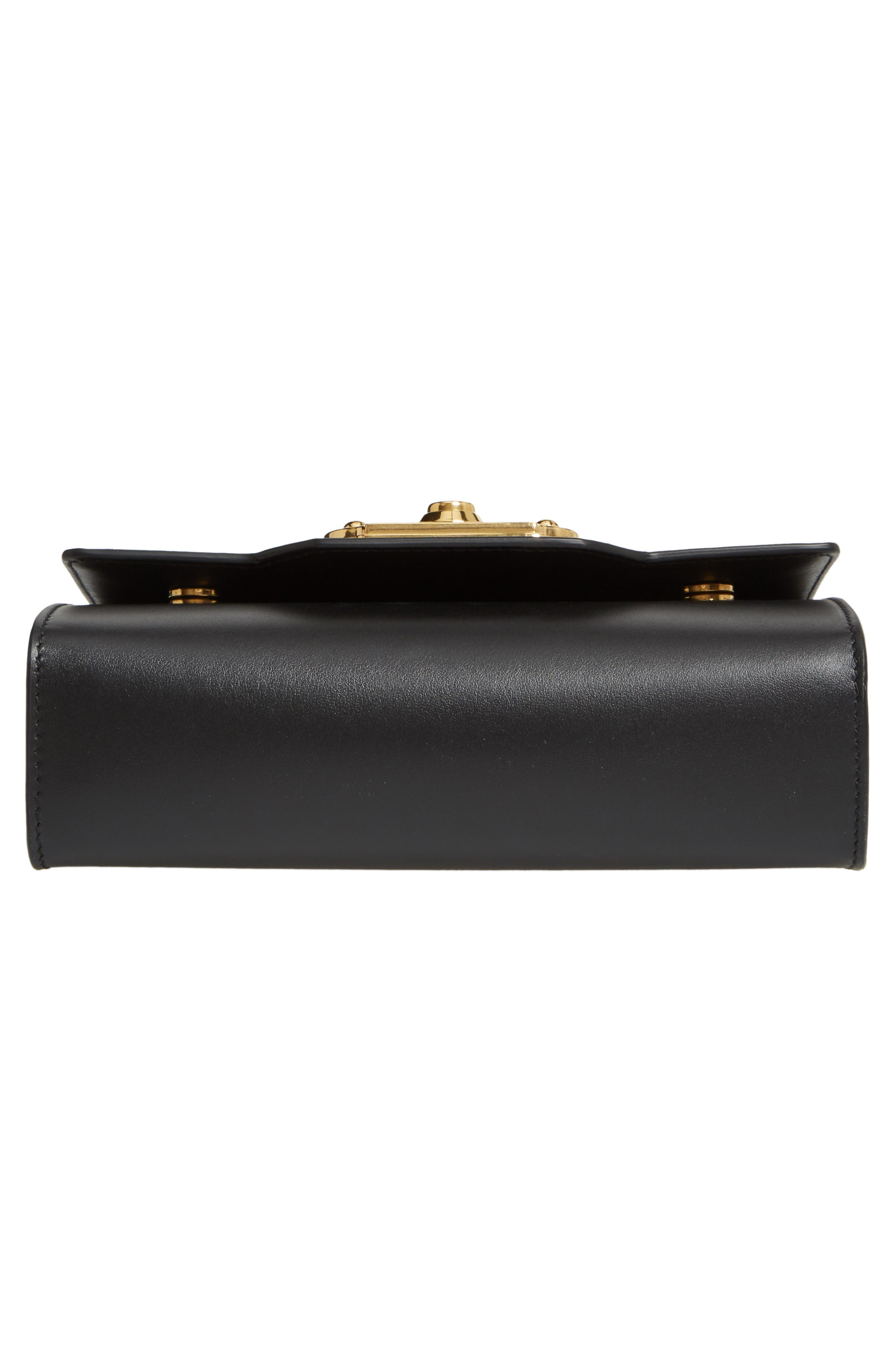 DOLCE&GABBANA, Leather Clutch, Alternate thumbnail 6, color, NERO