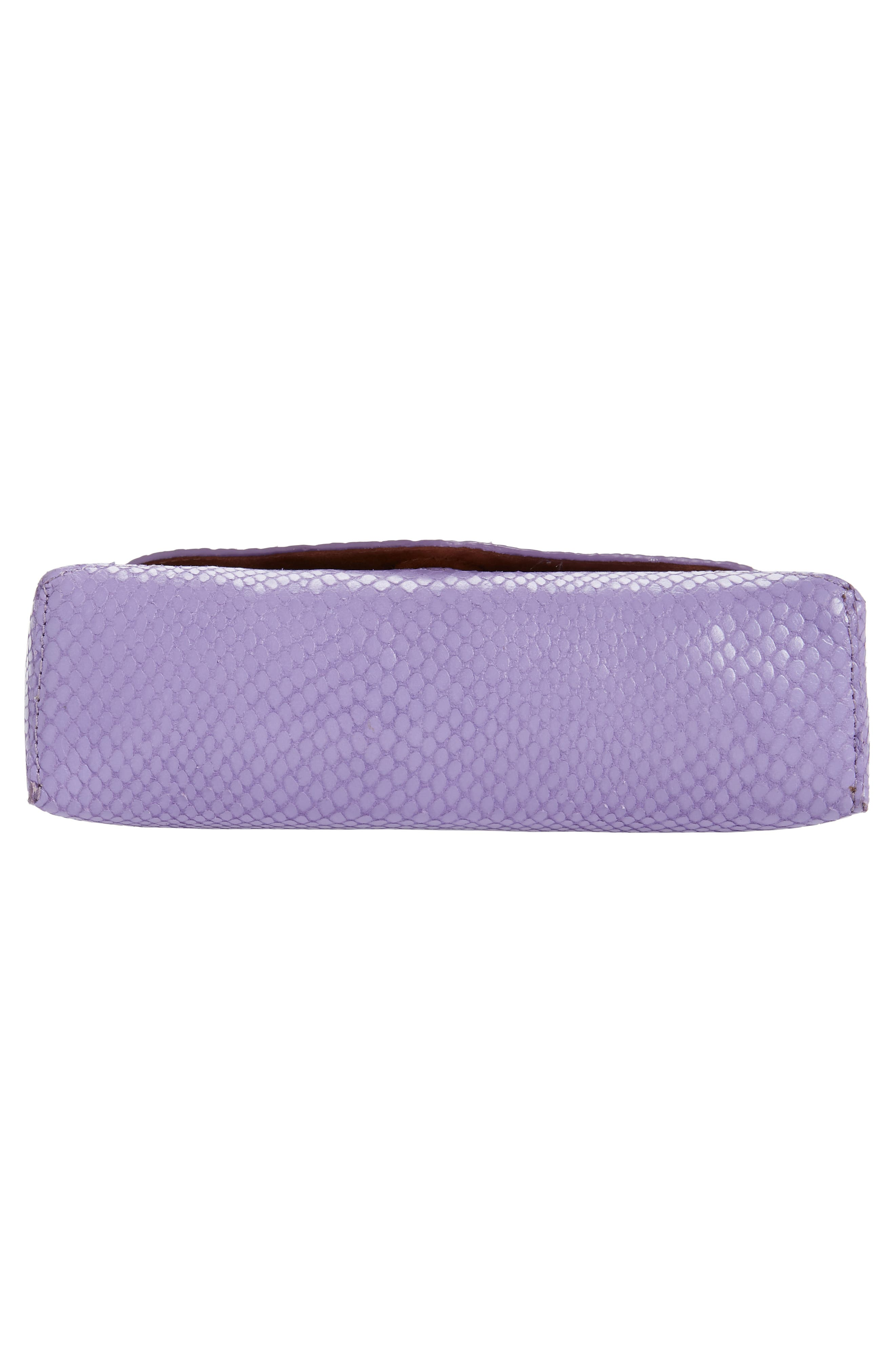 DRIES VAN NOTEN, Small Python Embossed Leather Envelope Clutch, Alternate thumbnail 6, color, LILAC