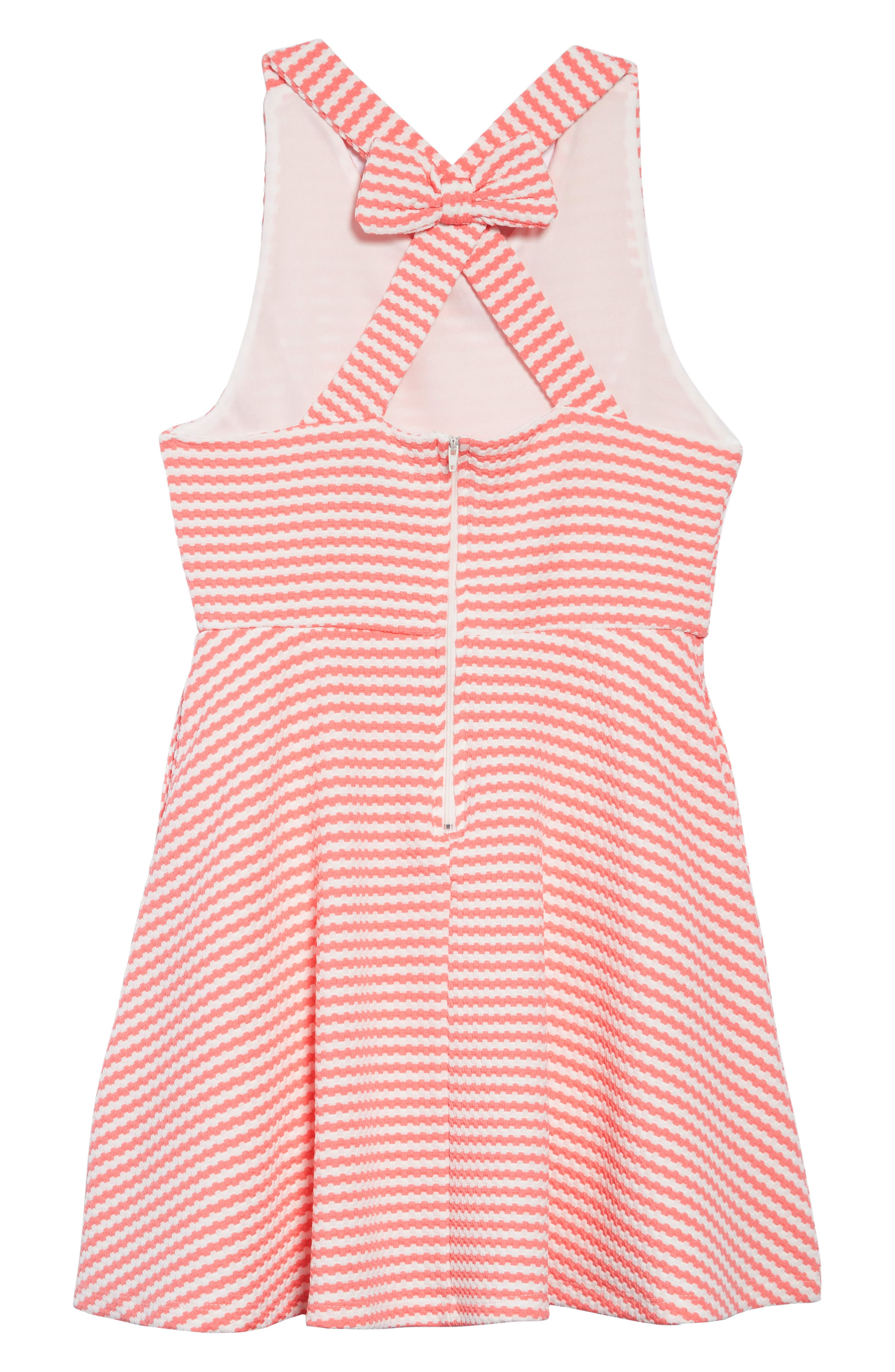 AVA & YELLY, Stripe Bow Back Skater Dress, Alternate thumbnail 2, color, 950