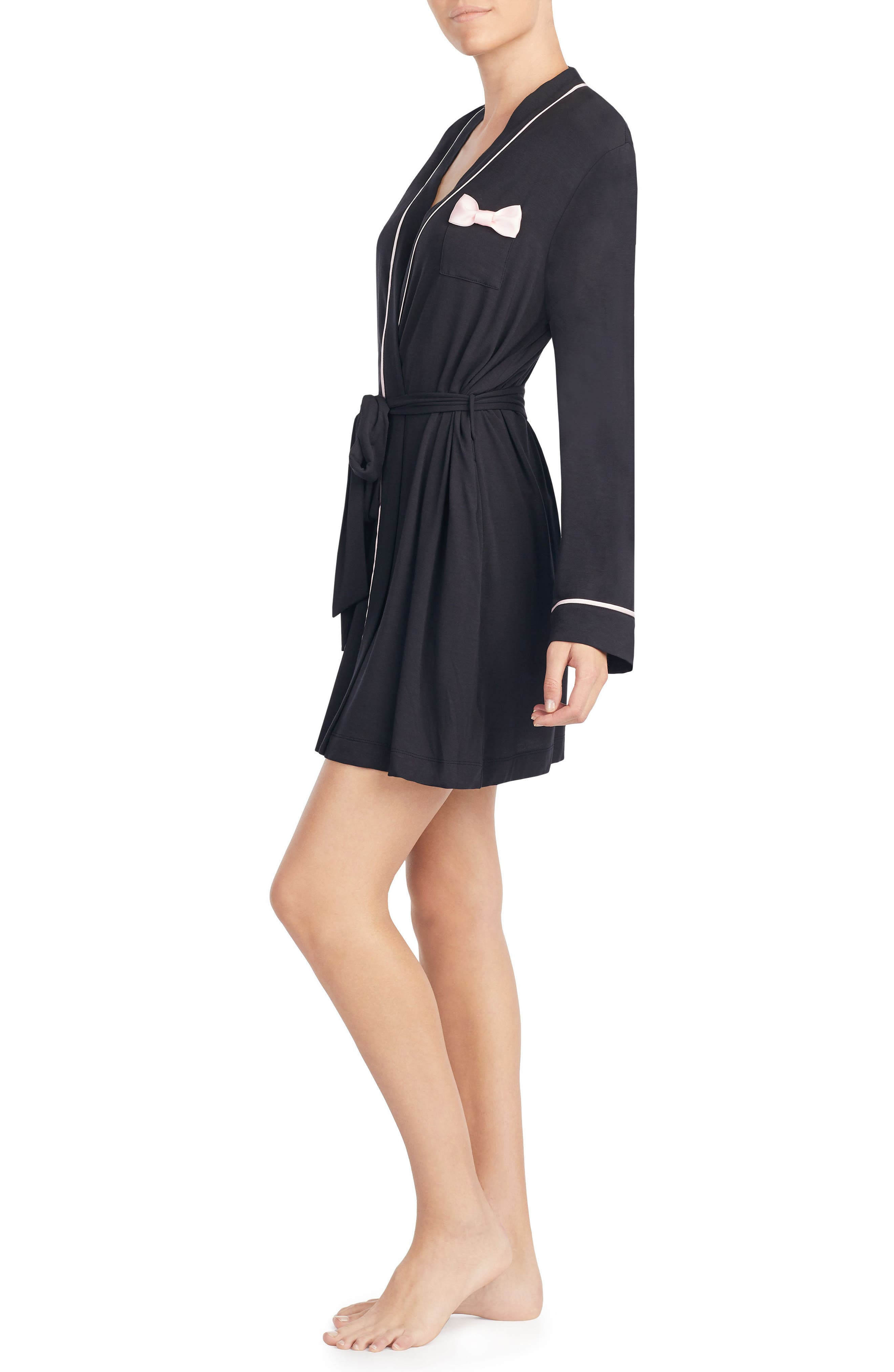 KATE SPADE NEW YORK, jersey short robe, Alternate thumbnail 3, color, BLACK