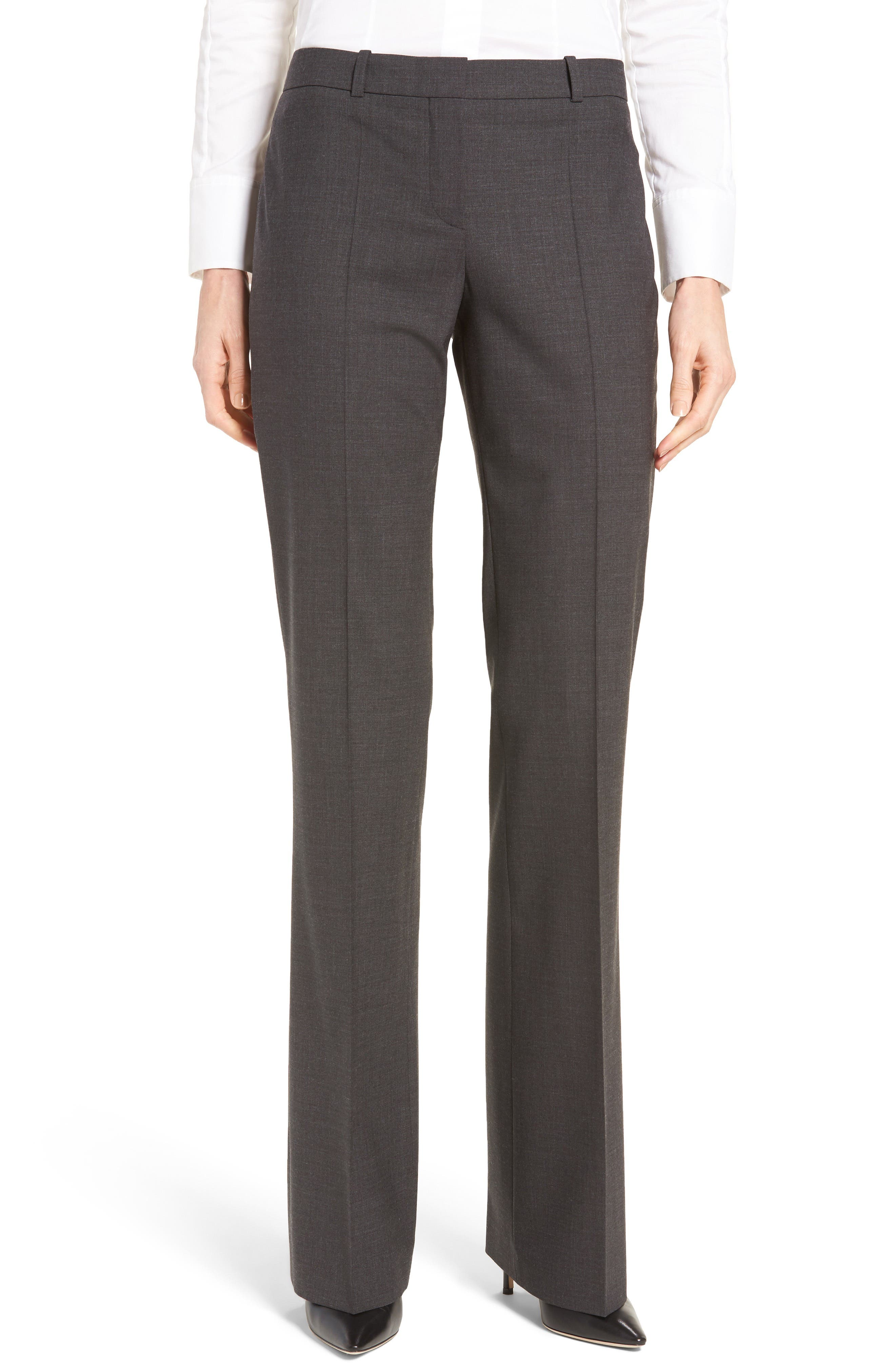 BOSS, Tulea3 Tropical Stretch Wool Trousers, Main thumbnail 1, color, CHARCOAL
