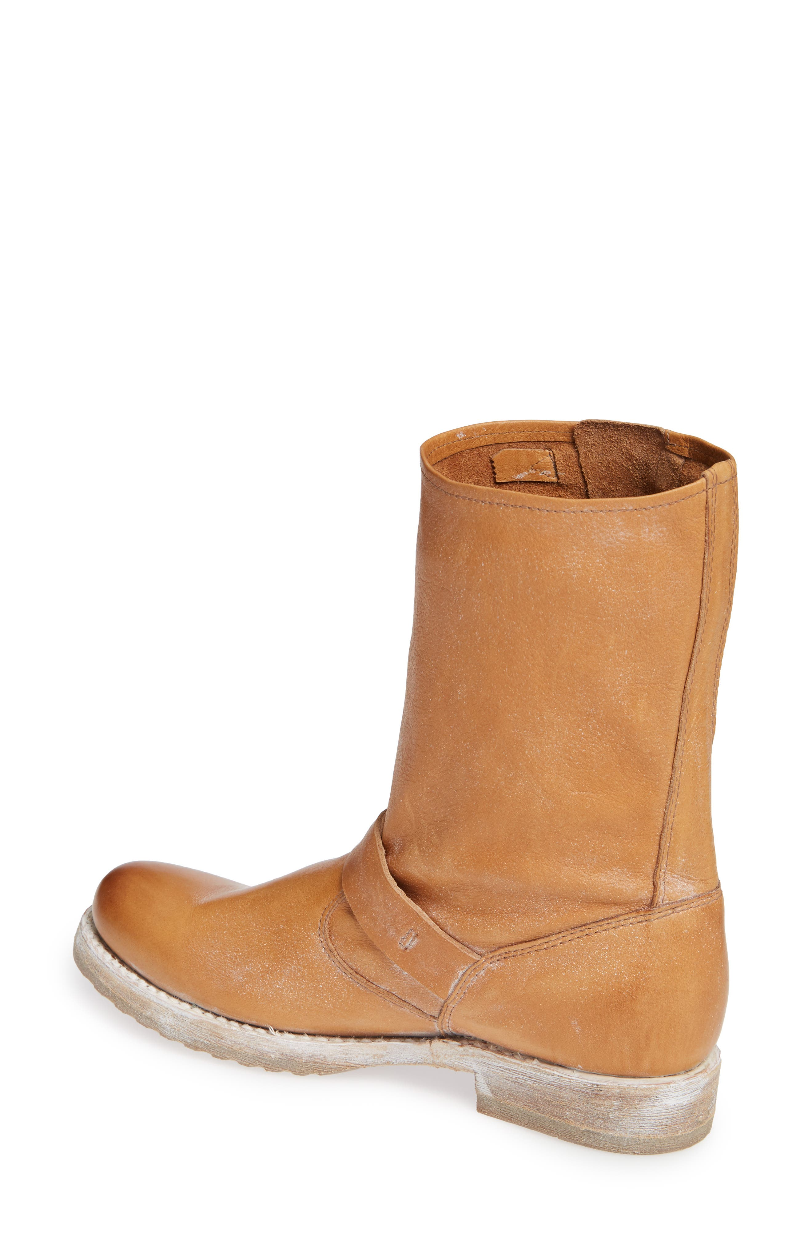 FRYE, 'Veronica Short' Slouchy Boot, Alternate thumbnail 2, color, TAN LEATHER