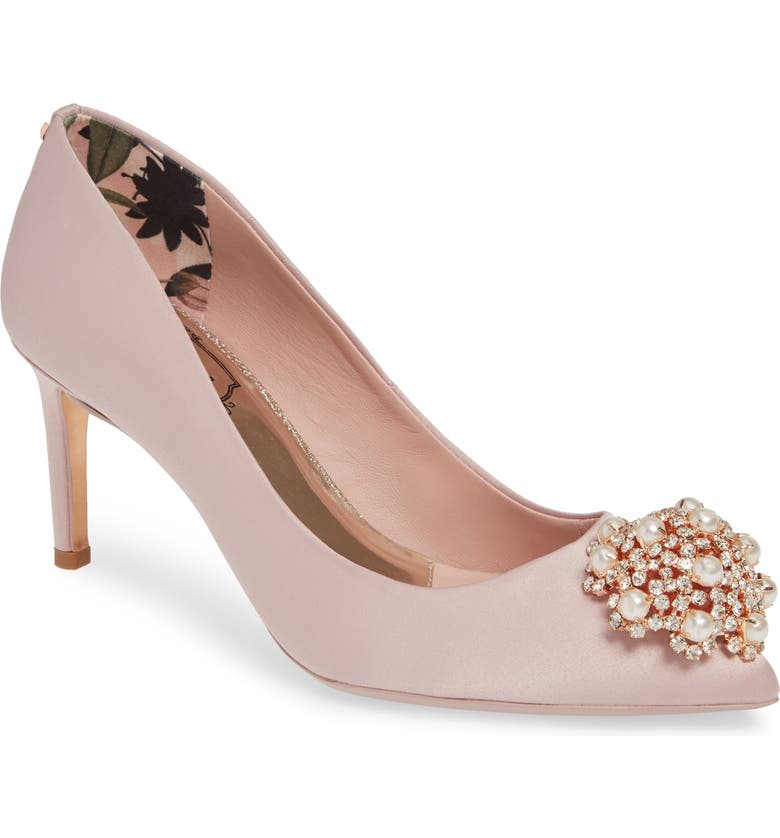 c2575408abe Ted Baker Dahrlin Embellished Pump In Pink Blossom Satin