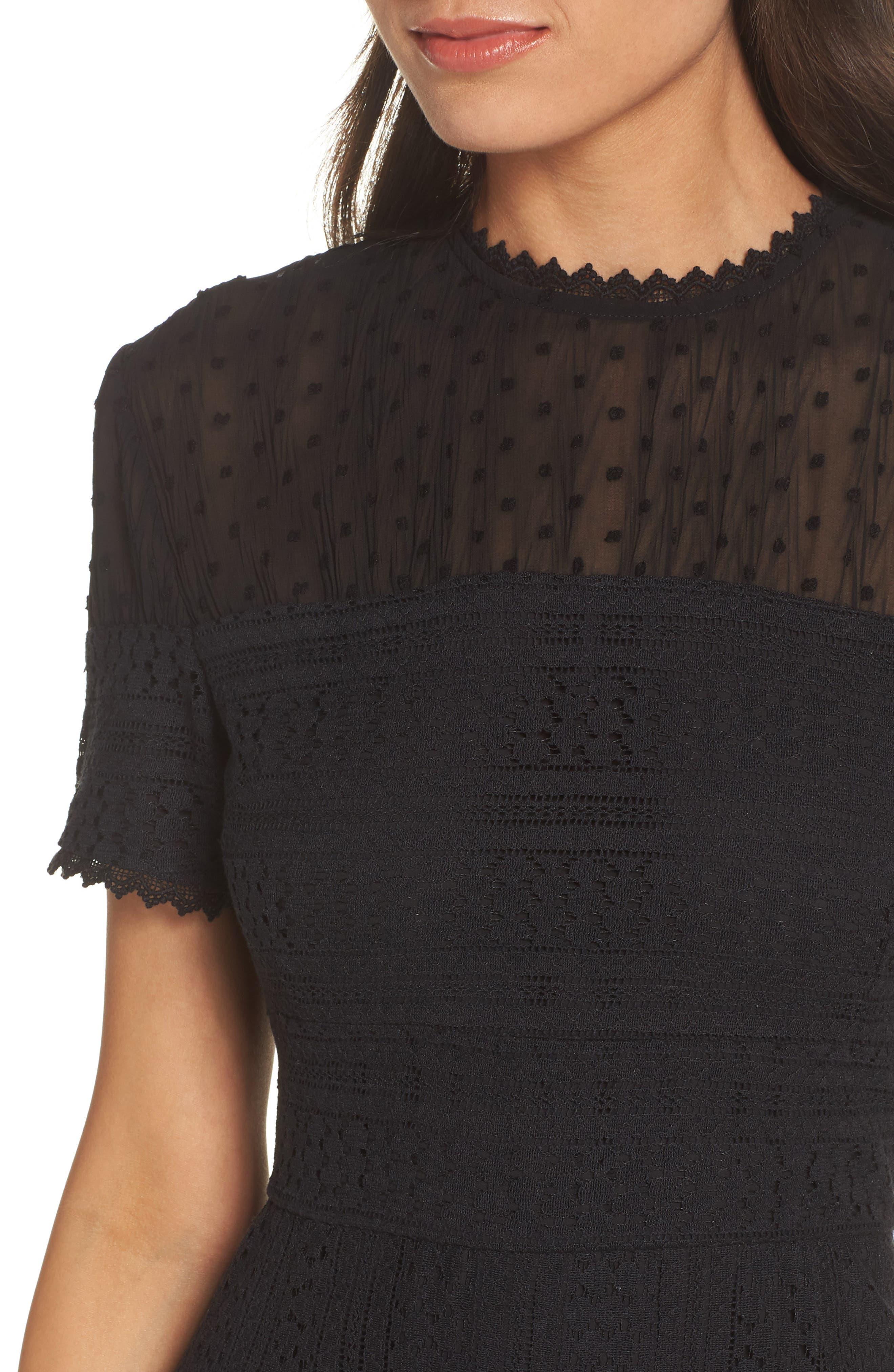 CHELSEA28, Lace & Swiss Dot Dress, Alternate thumbnail 5, color, 001