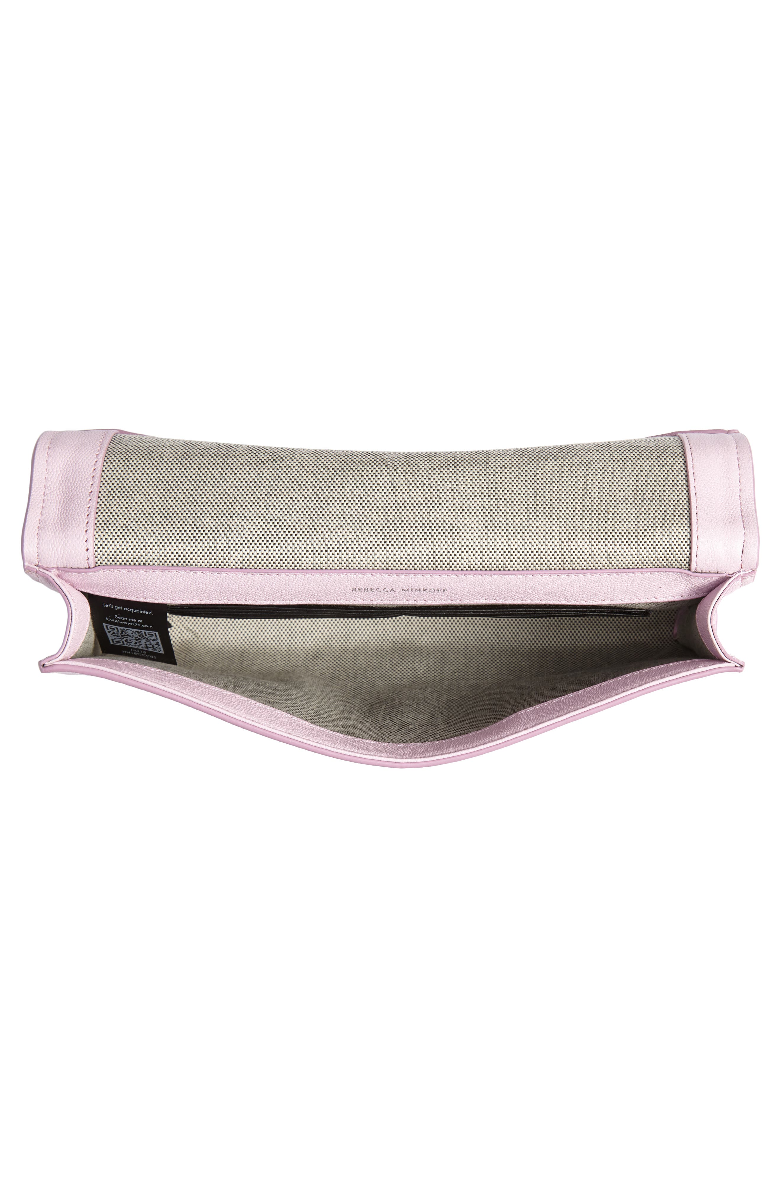 REBECCA MINKOFF, Jean Leather Clutch, Alternate thumbnail 5, color, LIGHT ORCHID