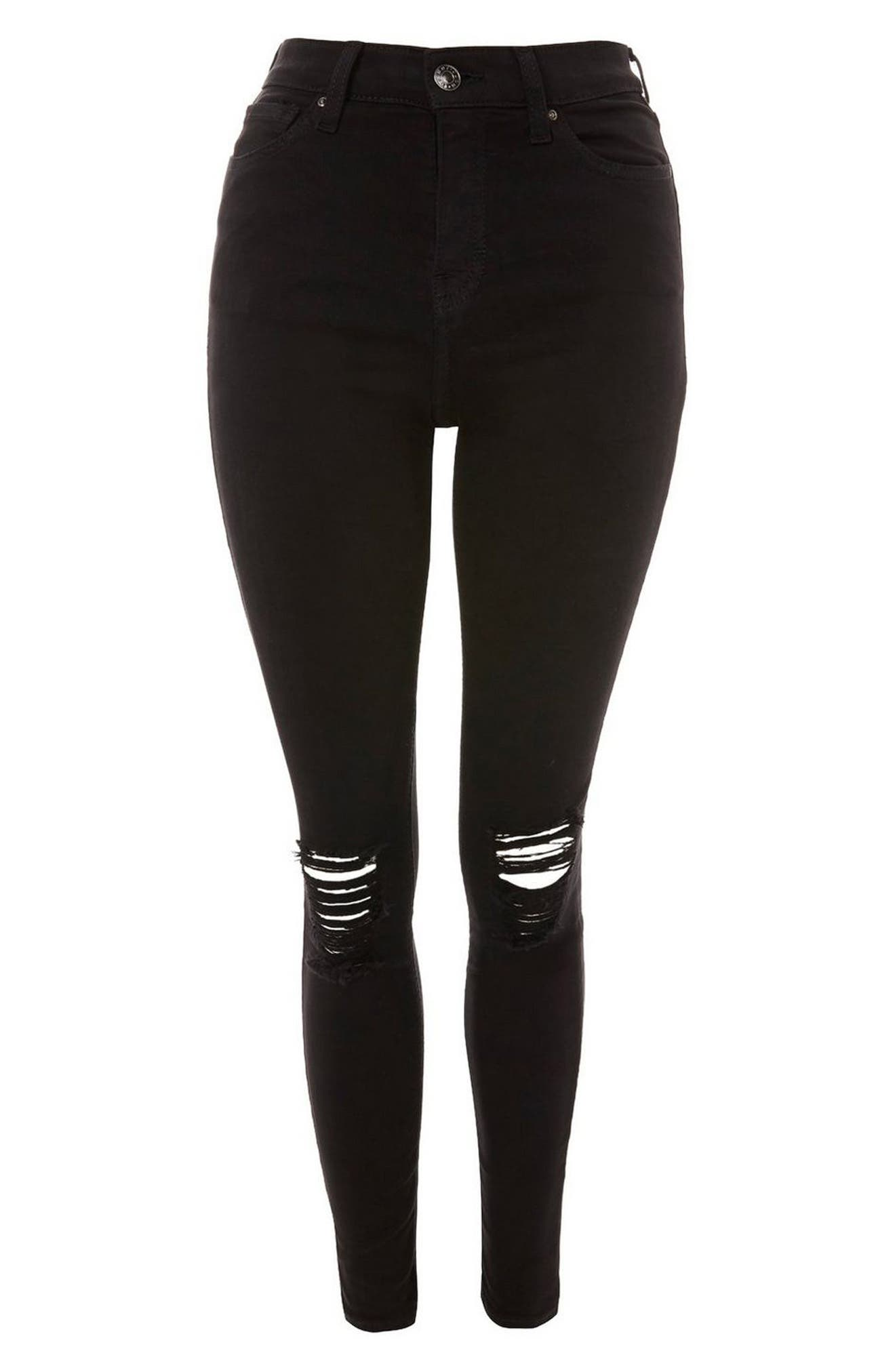 TOPSHOP, Moto Jamie High Waist Ripped Black Jeans, Alternate thumbnail 5, color, BLACK