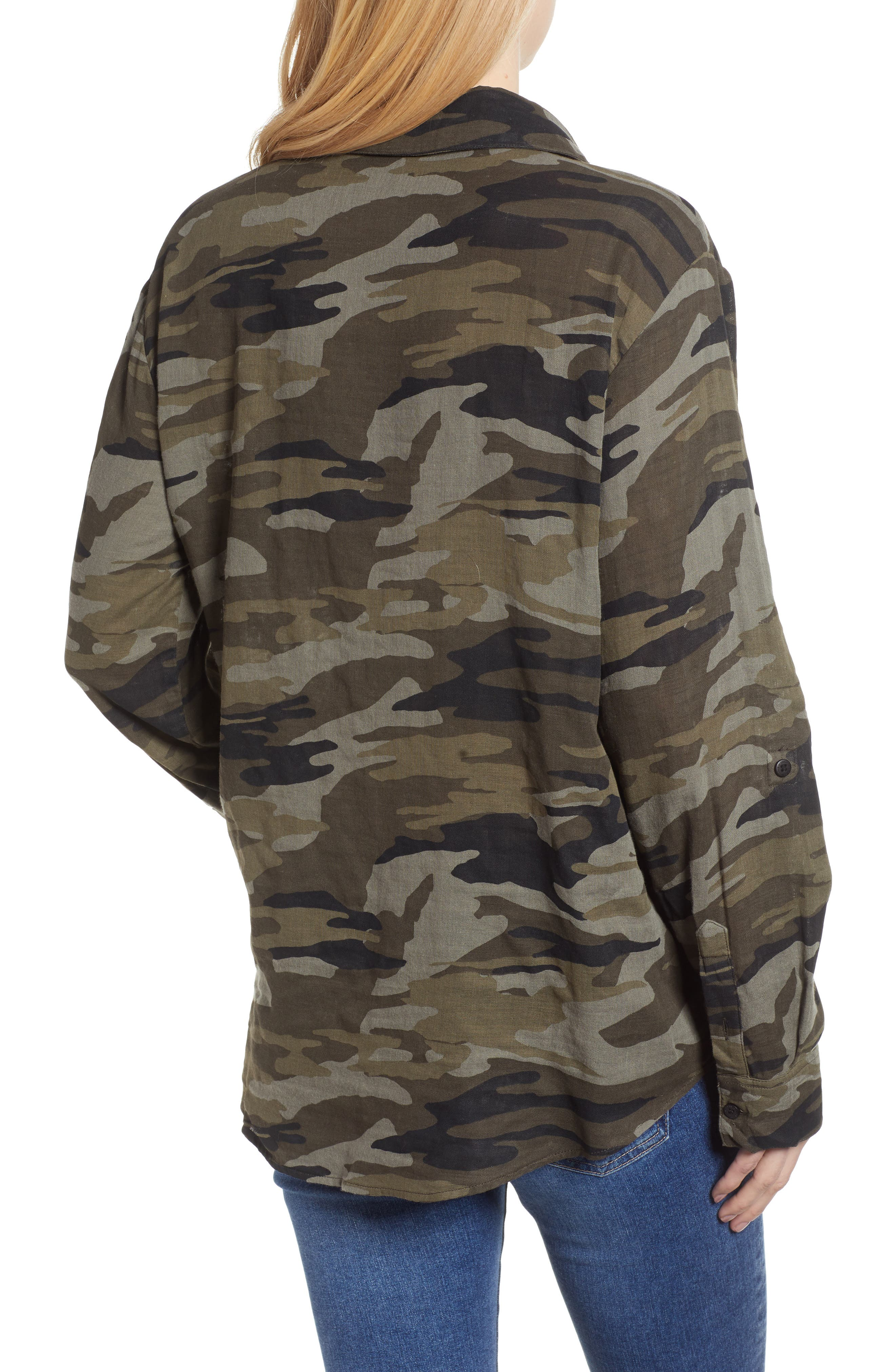 SANCTUARY, Steady Boyfriend Camo Shirt, Alternate thumbnail 2, color, GARDEN CAMO