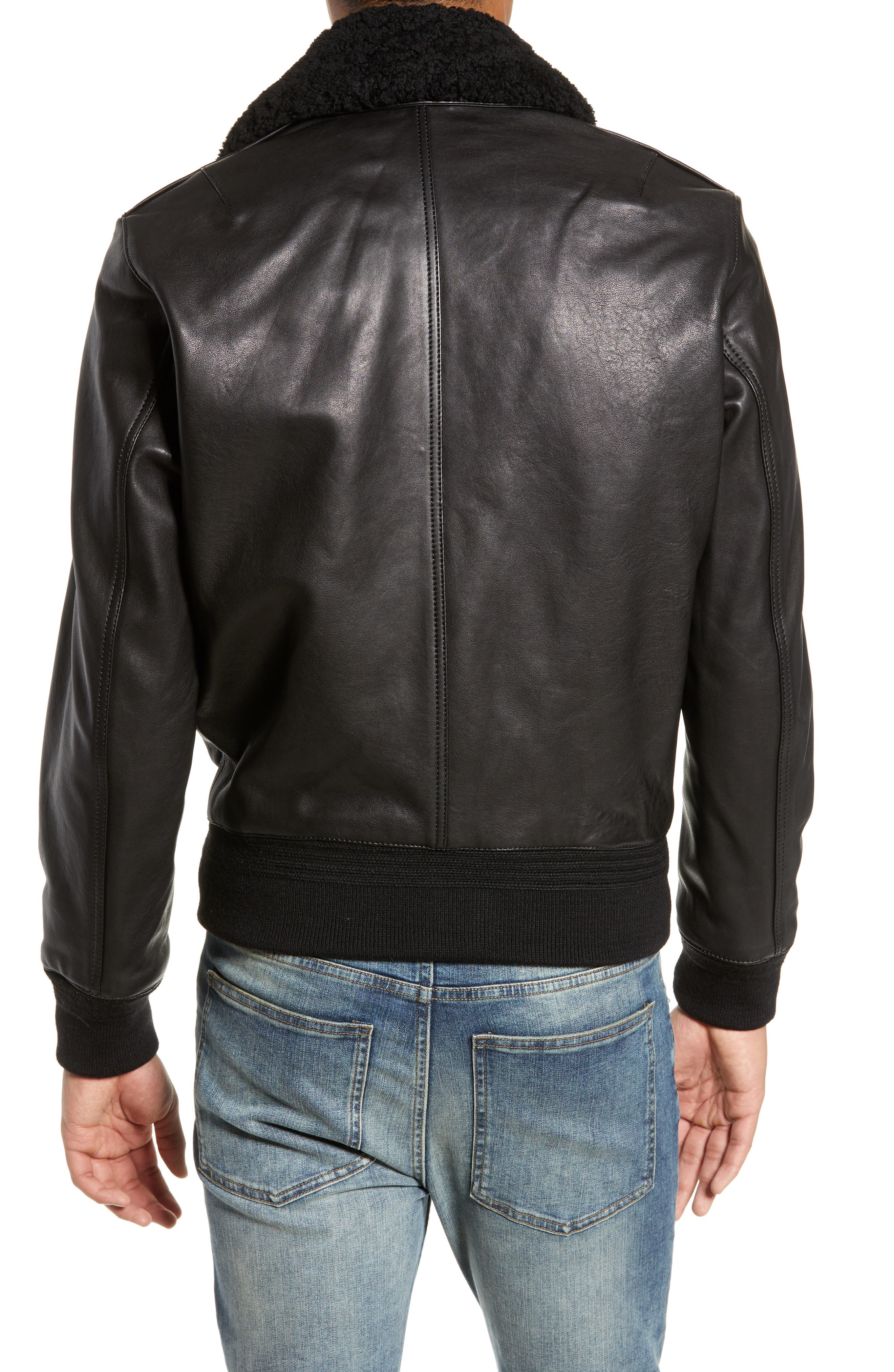 THE KOOPLES, Teddy Leather Jacket with Removable Genuine Lamb Shearling Trim, Alternate thumbnail 2, color, 001