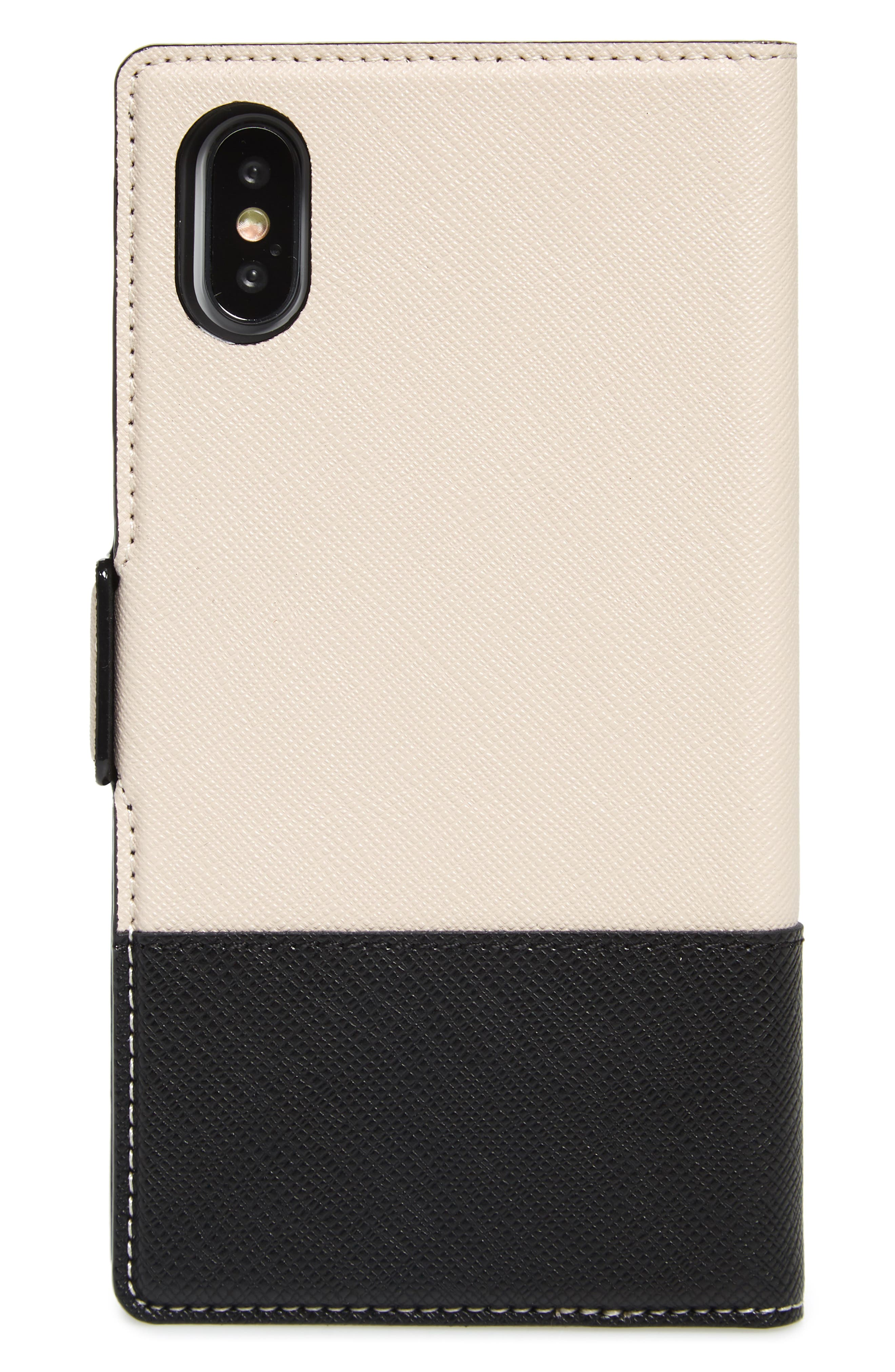 KATE SPADE NEW YORK, iPhone X/Xs/Xs Max & XR magnetic wrap folio case, Alternate thumbnail 3, color, BLACK/ TUSK