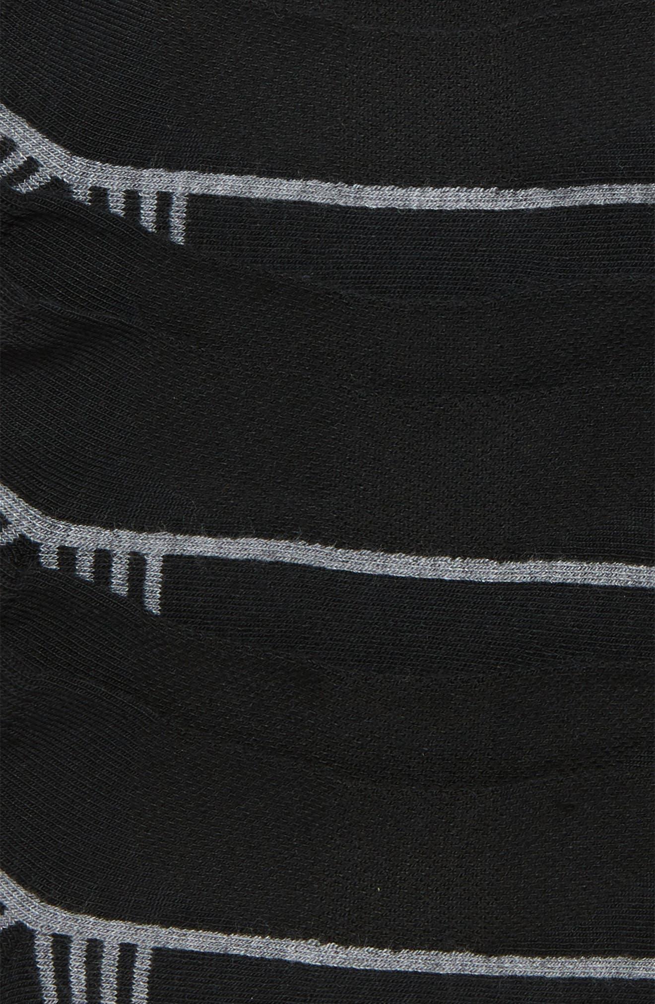 ZELLA, 3-Pack Assorted Ankle Socks, Alternate thumbnail 2, color, BLACK