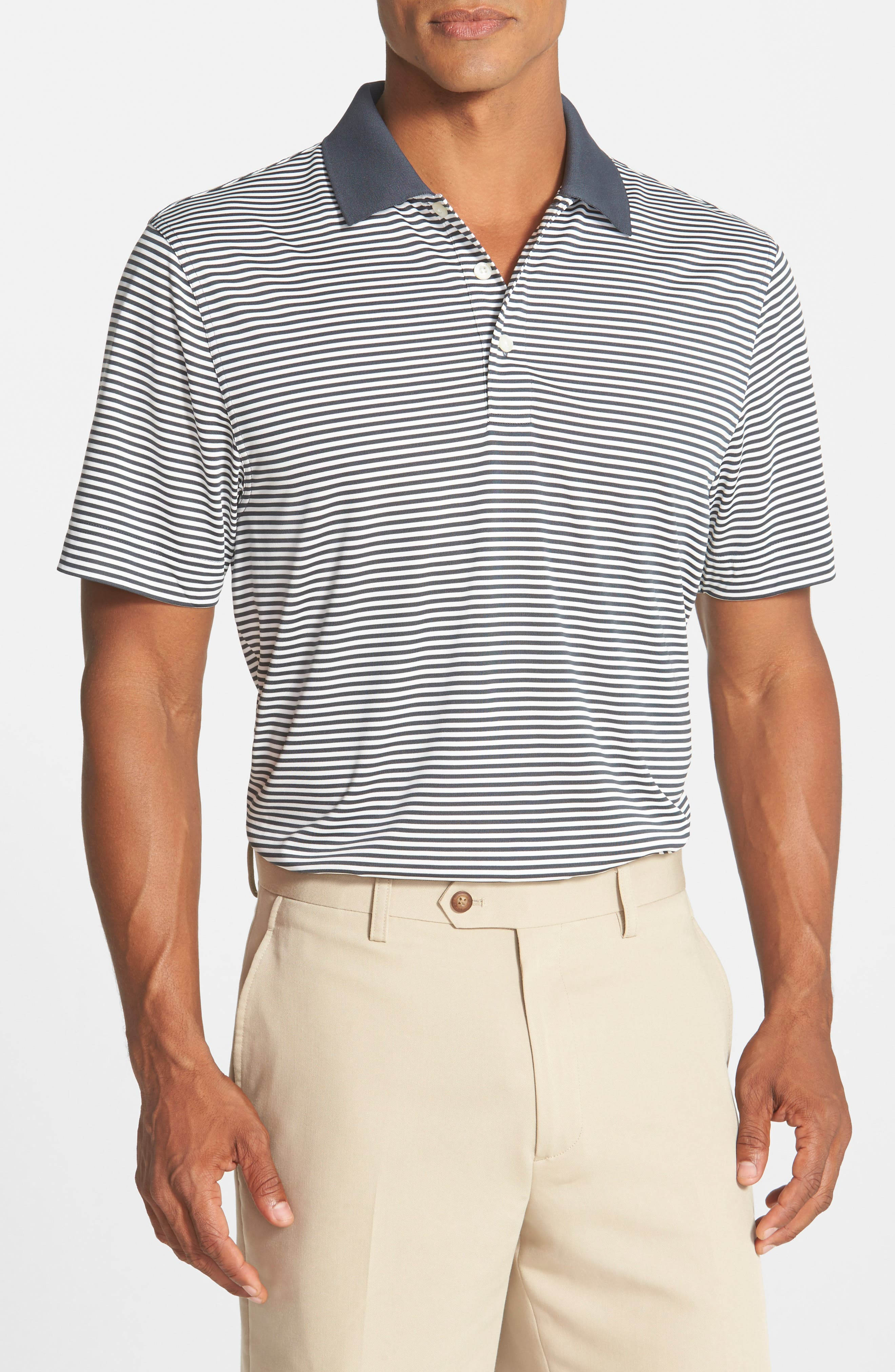 CUTTER & BUCK Trevor Stripe DryTec Polo, Main, color, ONYX/ WHITE