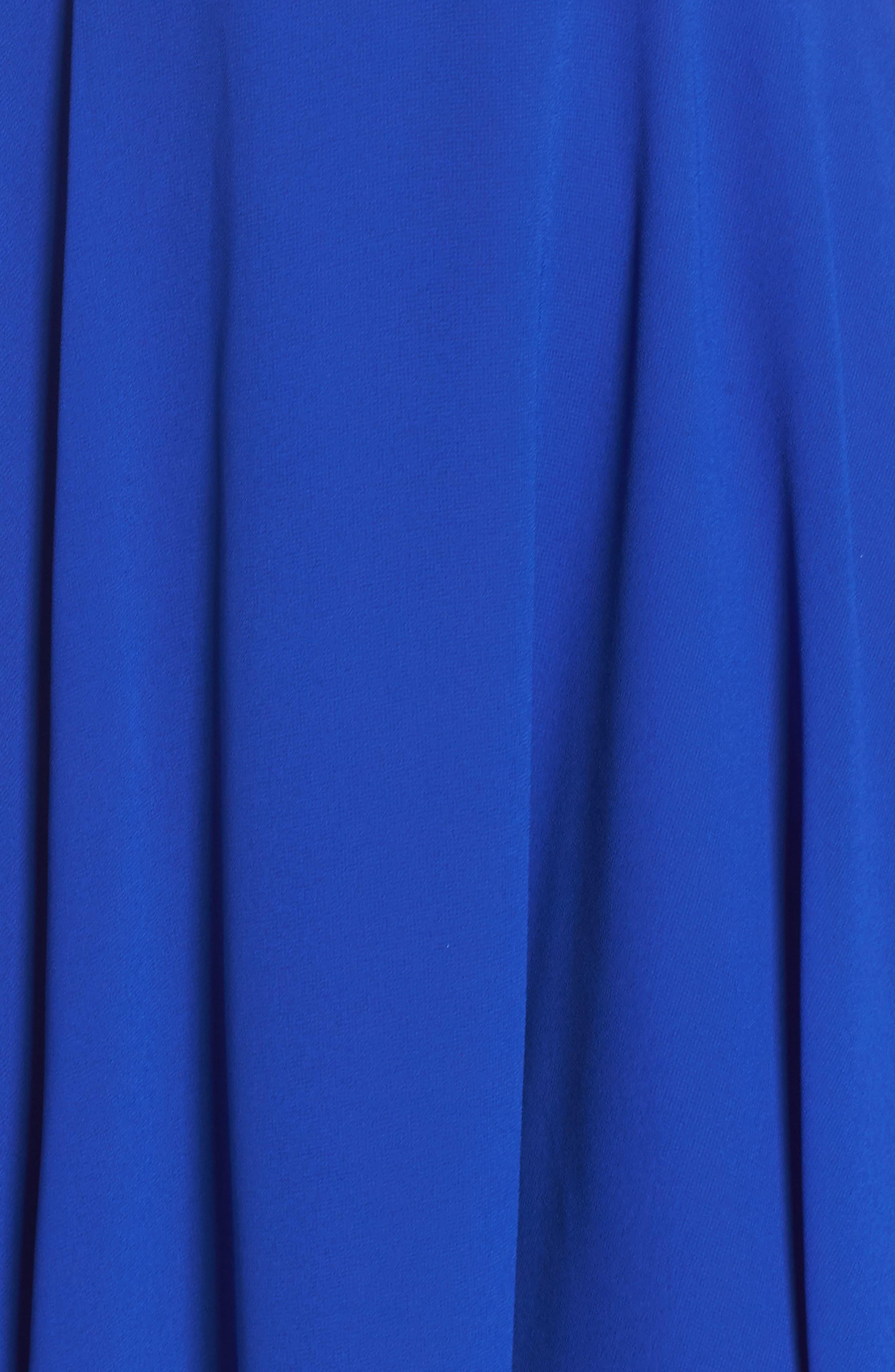 LULUS, Good Deeds Lace-Up Skater Dress, Alternate thumbnail 6, color, ROYAL BLUE