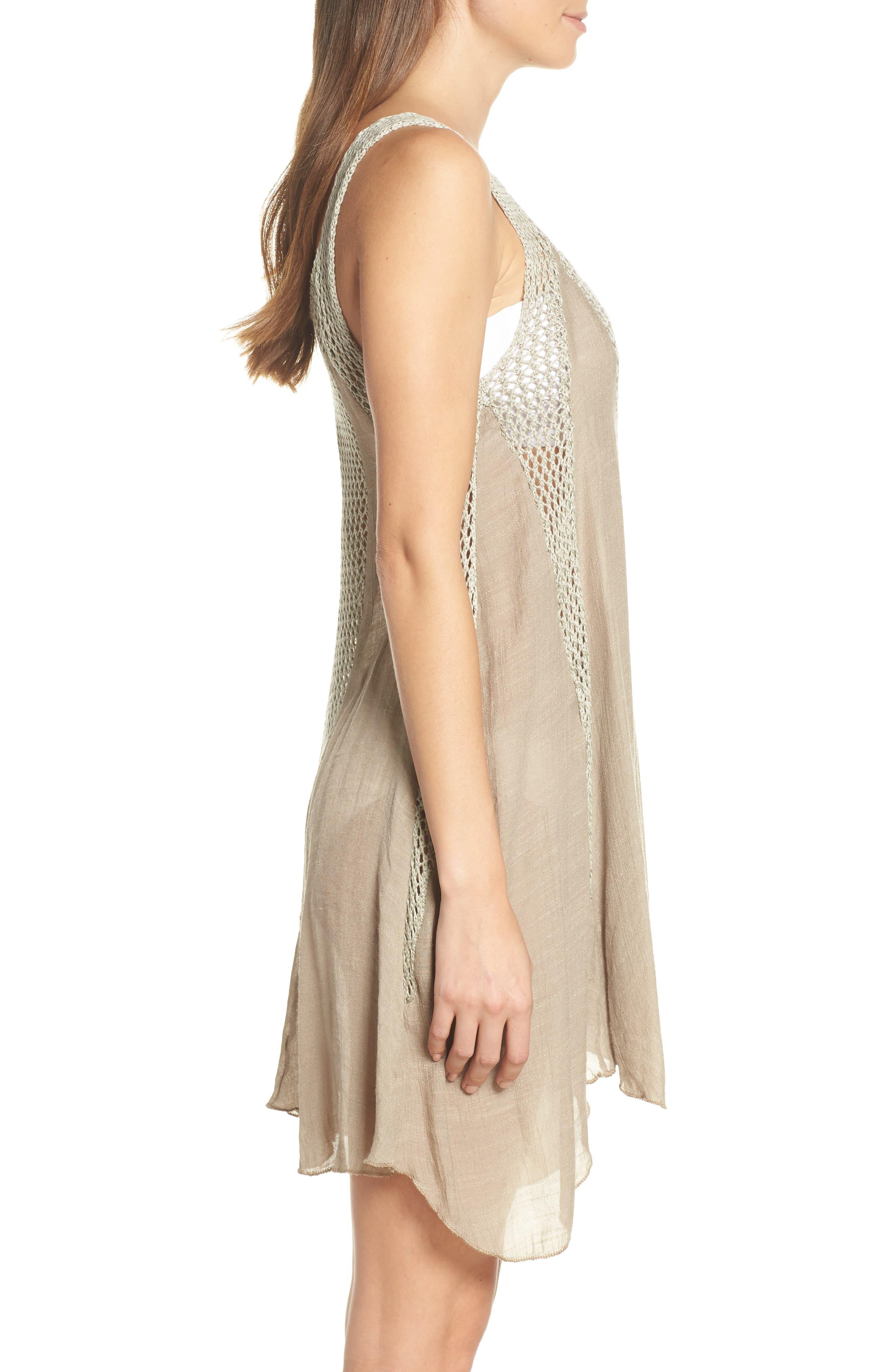 ELAN, Crochet Inset Cover-Up Dress, Alternate thumbnail 4, color, SAGE