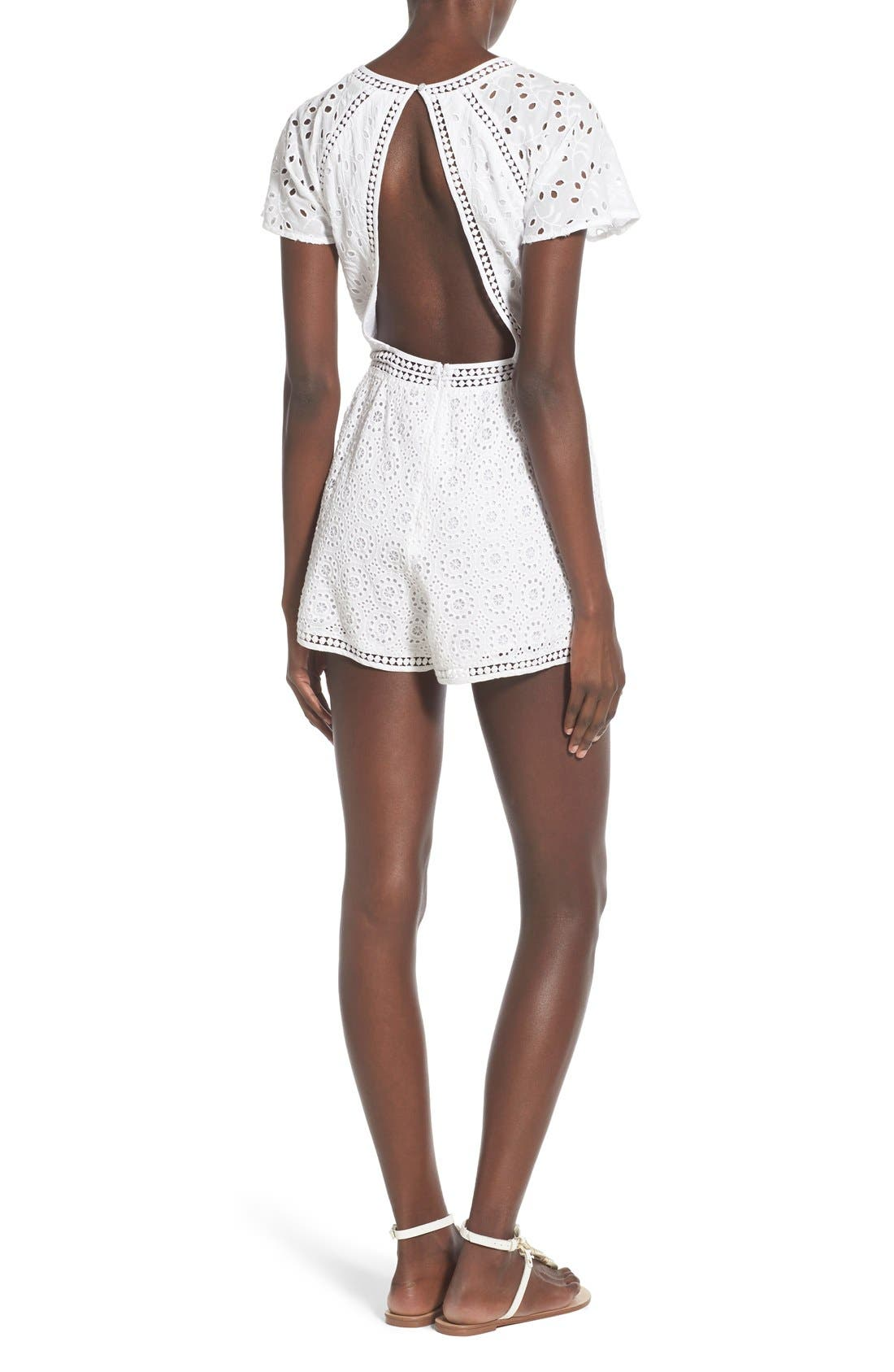 TULAROSA, 'Brynn' Embroidered Eyelet Romper, Alternate thumbnail 2, color, 100