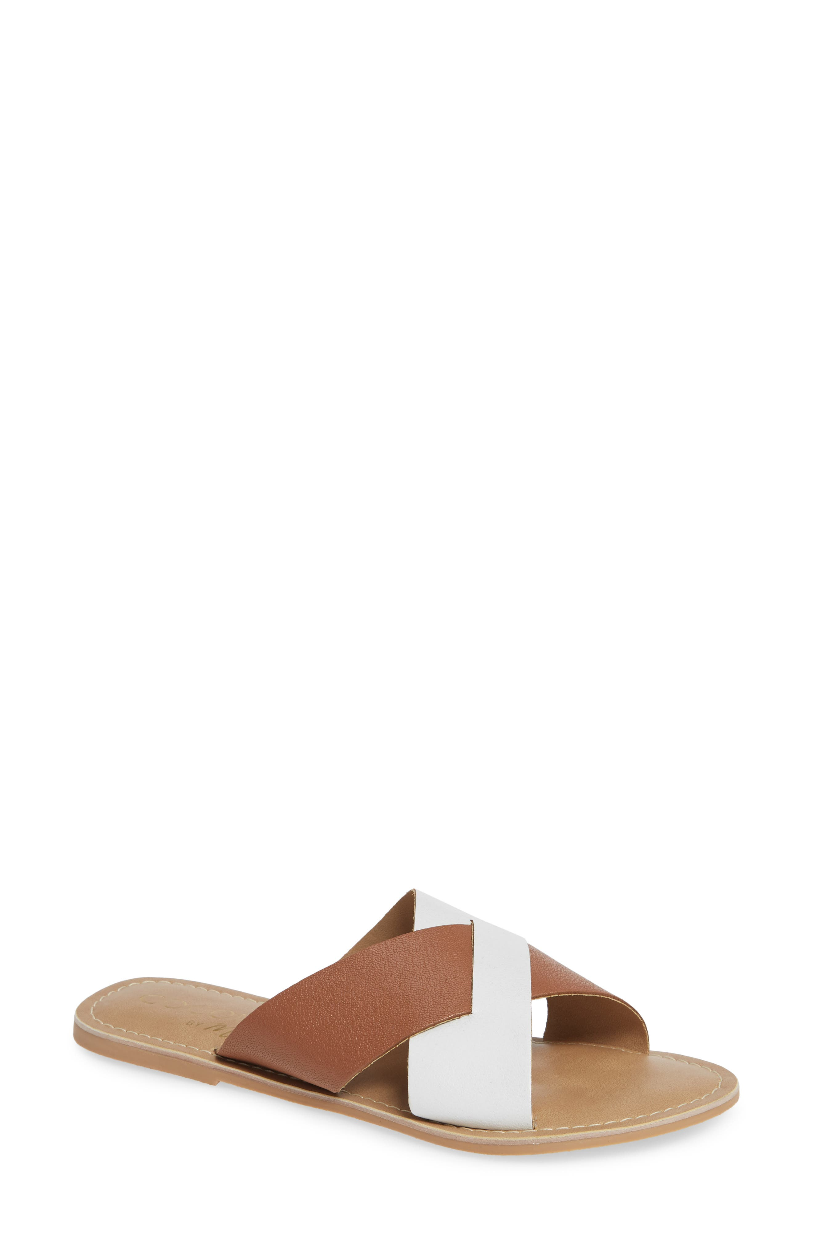 COCONUTS BY MATISSE, Wilma Slide Sandal, Main thumbnail 1, color, TAN/ WHITE LEATHER