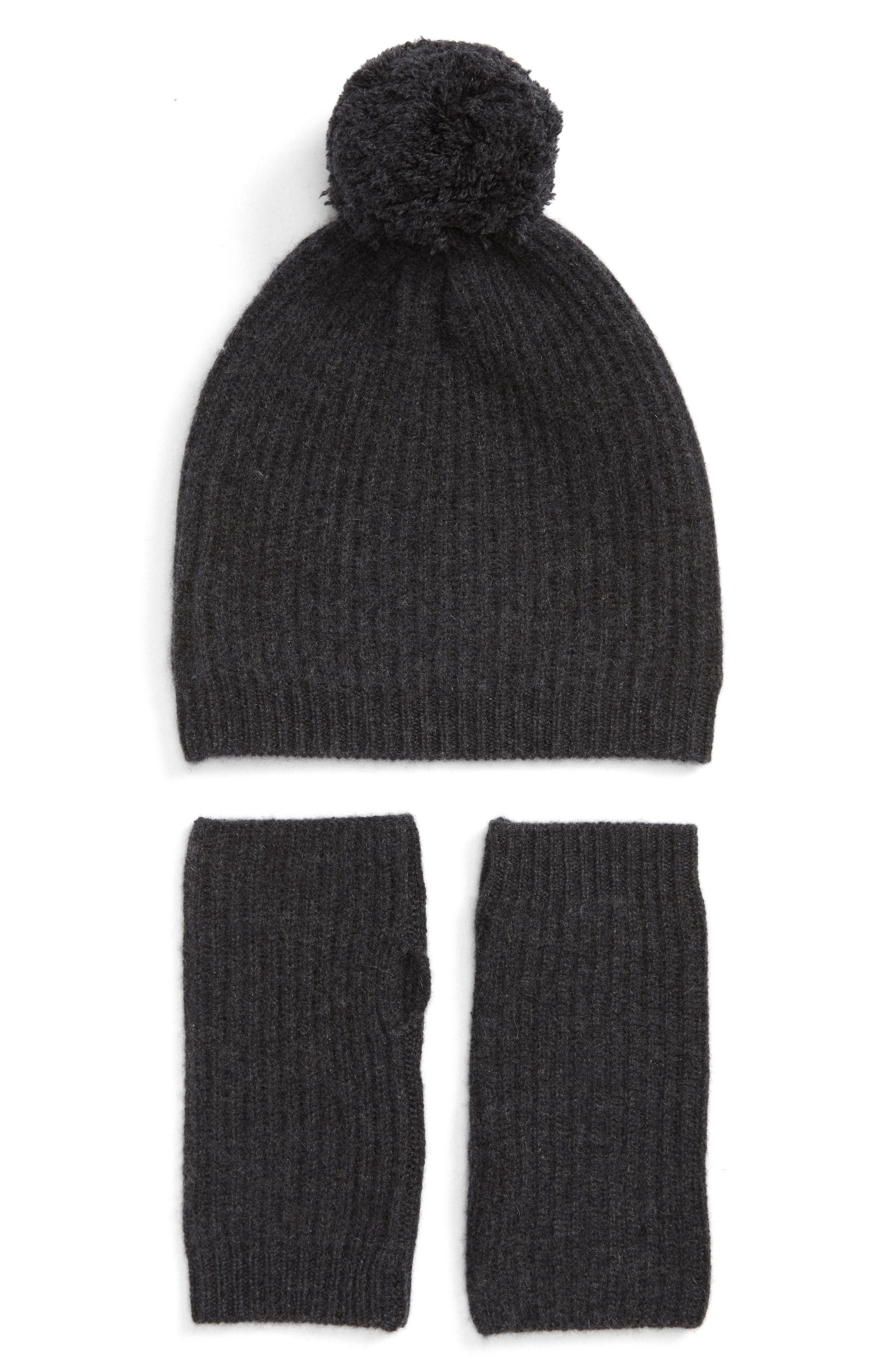 HALOGEN<SUP>®</SUP> Cashmere Coordinates Hat & Arm Warmer Set, Main, color, 001