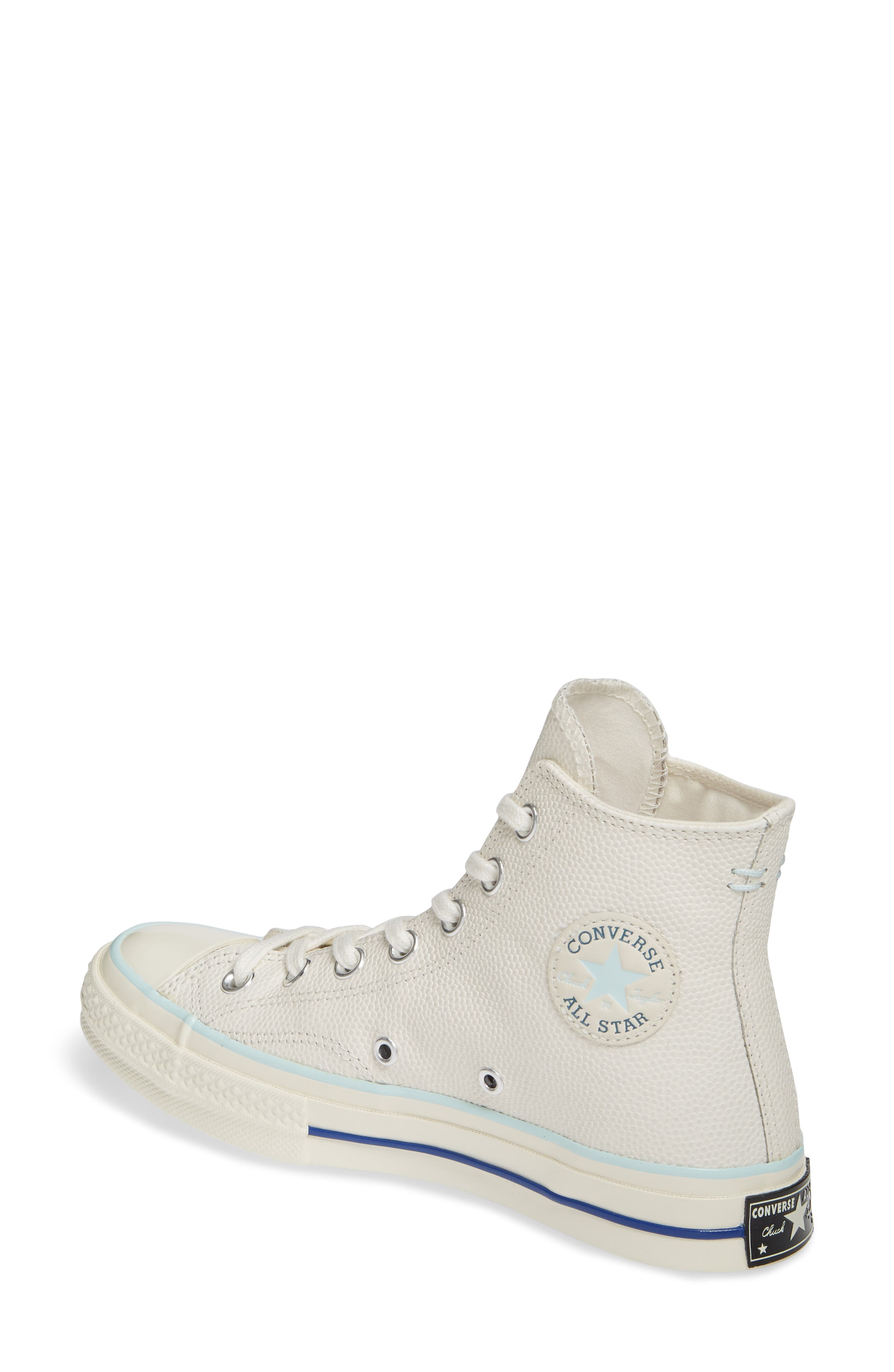 CONVERSE, Chuck Taylor<sup>®</sup> All Star<sup>®</sup> 70 High Top Leather Sneaker, Alternate thumbnail 2, color, EGRET/ TEAL TINT/ EGRET