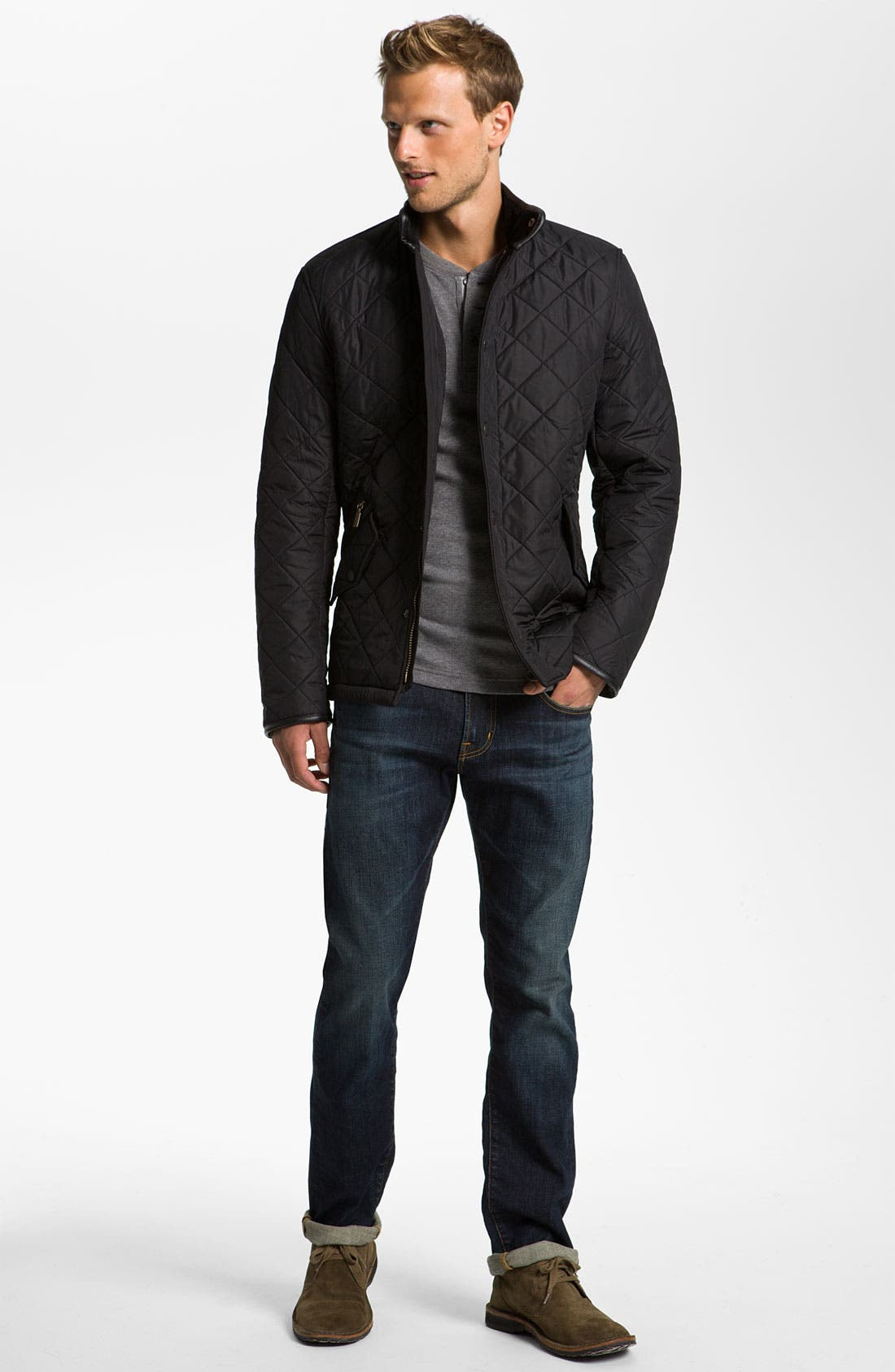 BARBOUR, 'Powell' Regular Fit Quilted Jacket, Alternate thumbnail 7, color, BLACK