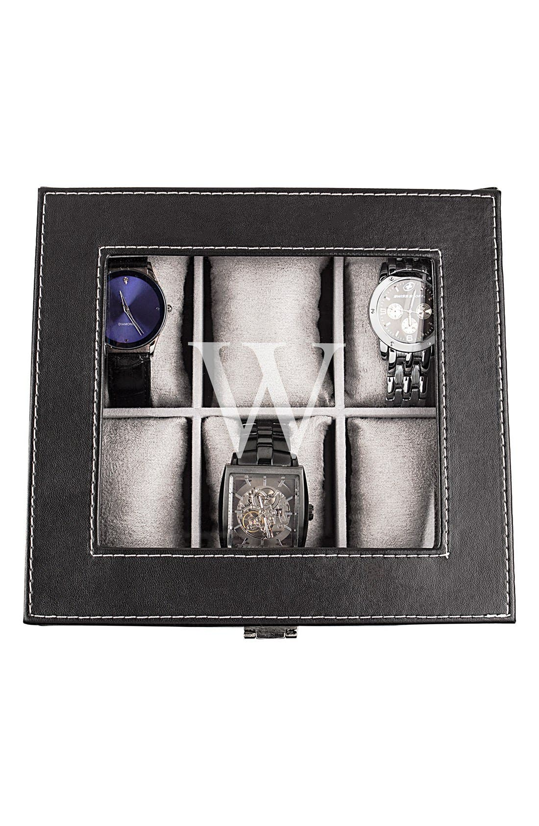 CATHY'S CONCEPTS, Monogram Watch Box, Alternate thumbnail 6, color, W