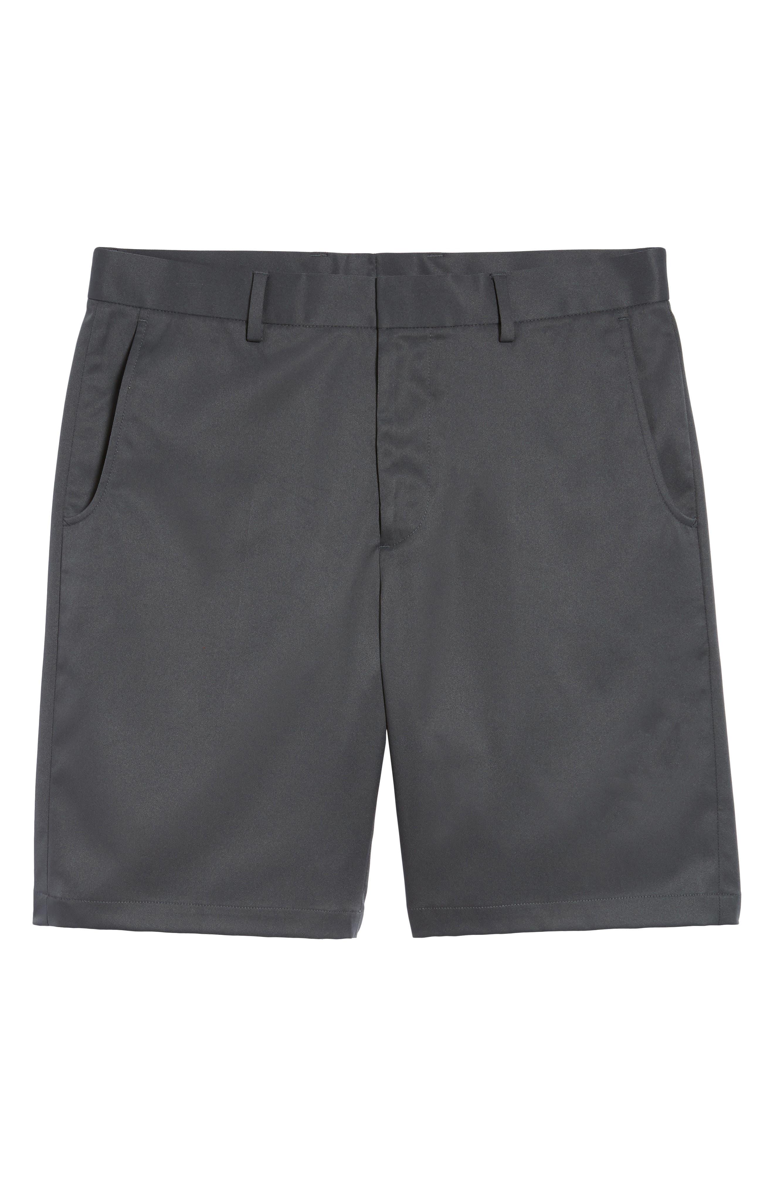 BOBBY JONES, Flat Front Tech Shorts, Alternate thumbnail 6, color, CHARCOAL
