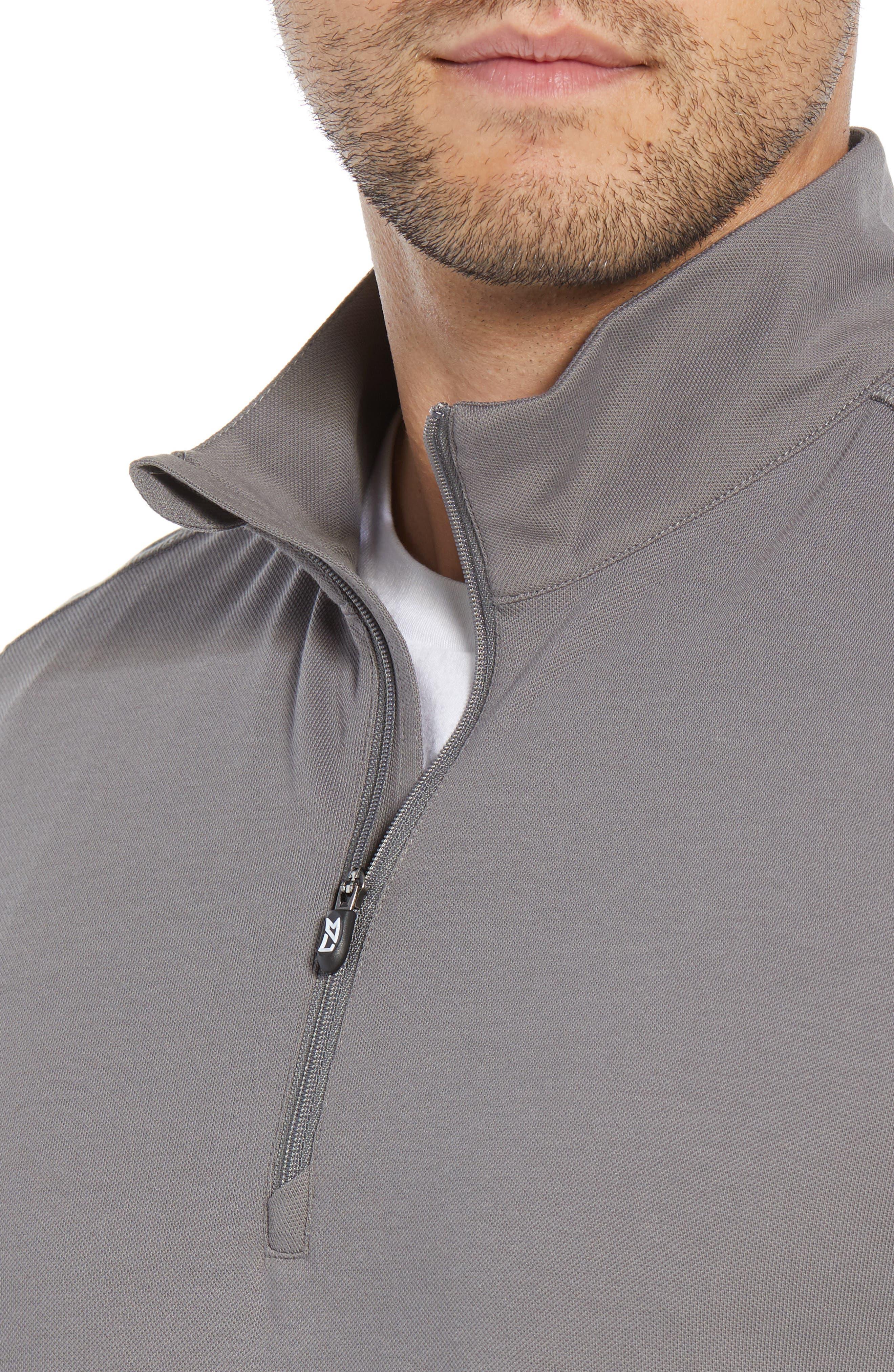 CUTTER & BUCK, Advantage Regular Fit DryTec Mock Neck Pullover, Alternate thumbnail 4, color, ELEMENTAL GREY