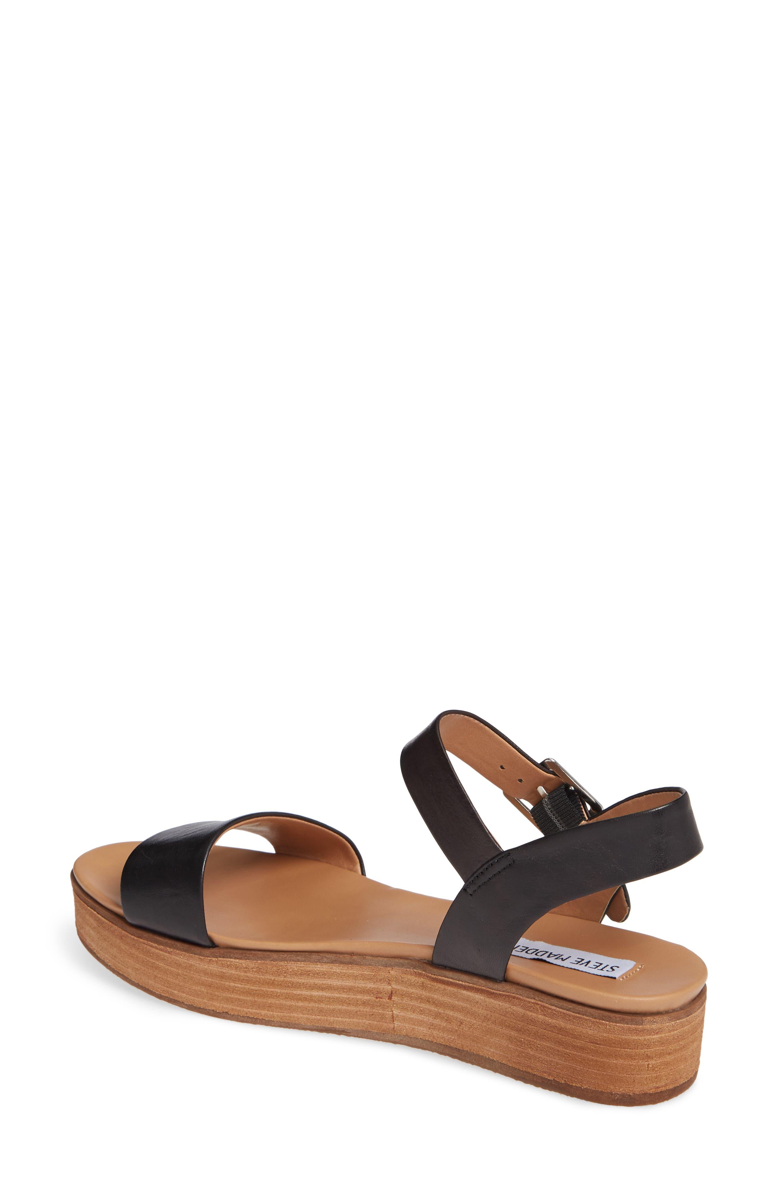 STEVE MADDEN, Aida Platform Sandal, Alternate thumbnail 2, color, BLACK LEATHER