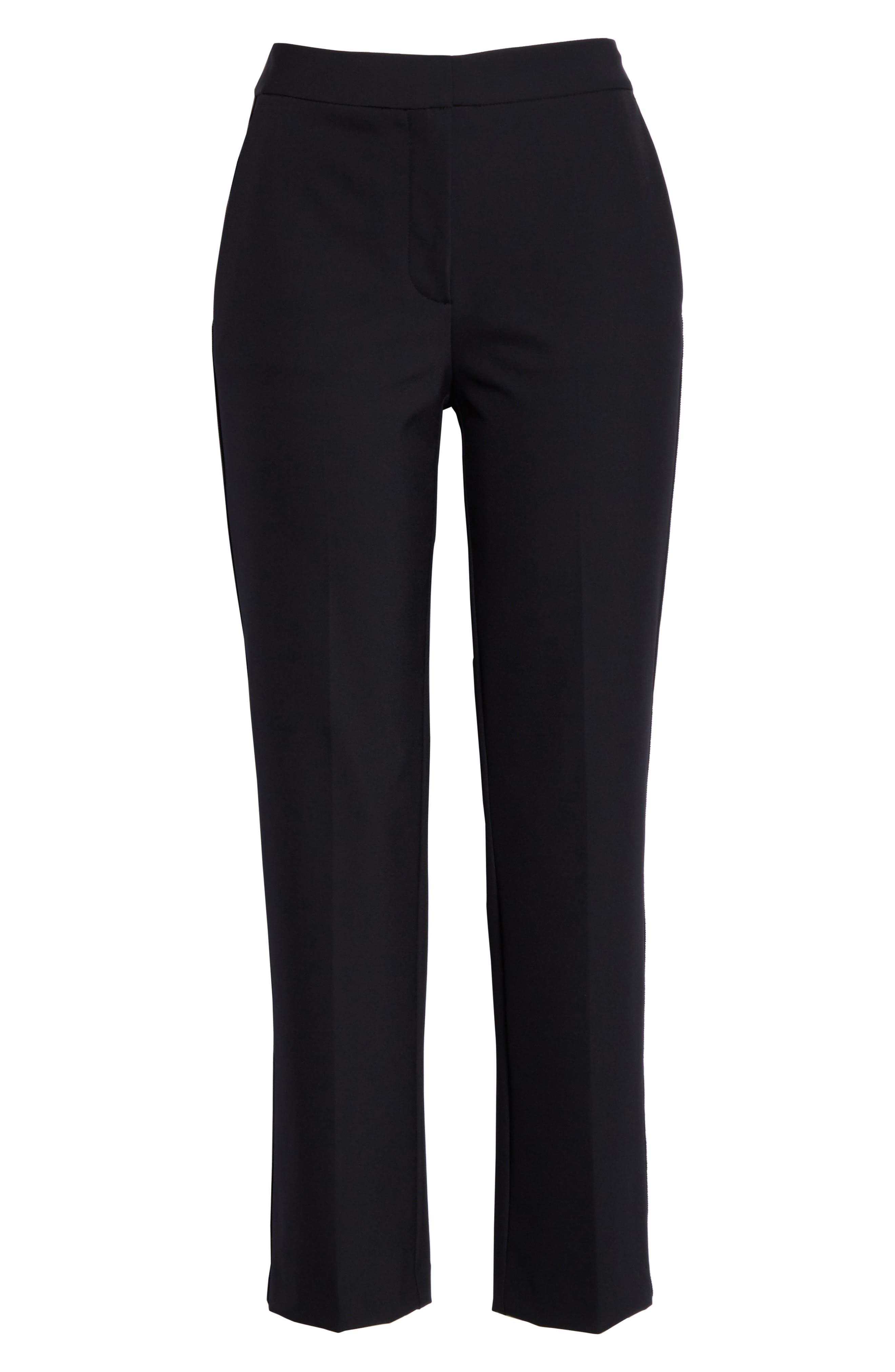 REBECCA TAYLOR, Audra Crop Pants, Alternate thumbnail 7, color, BLACK
