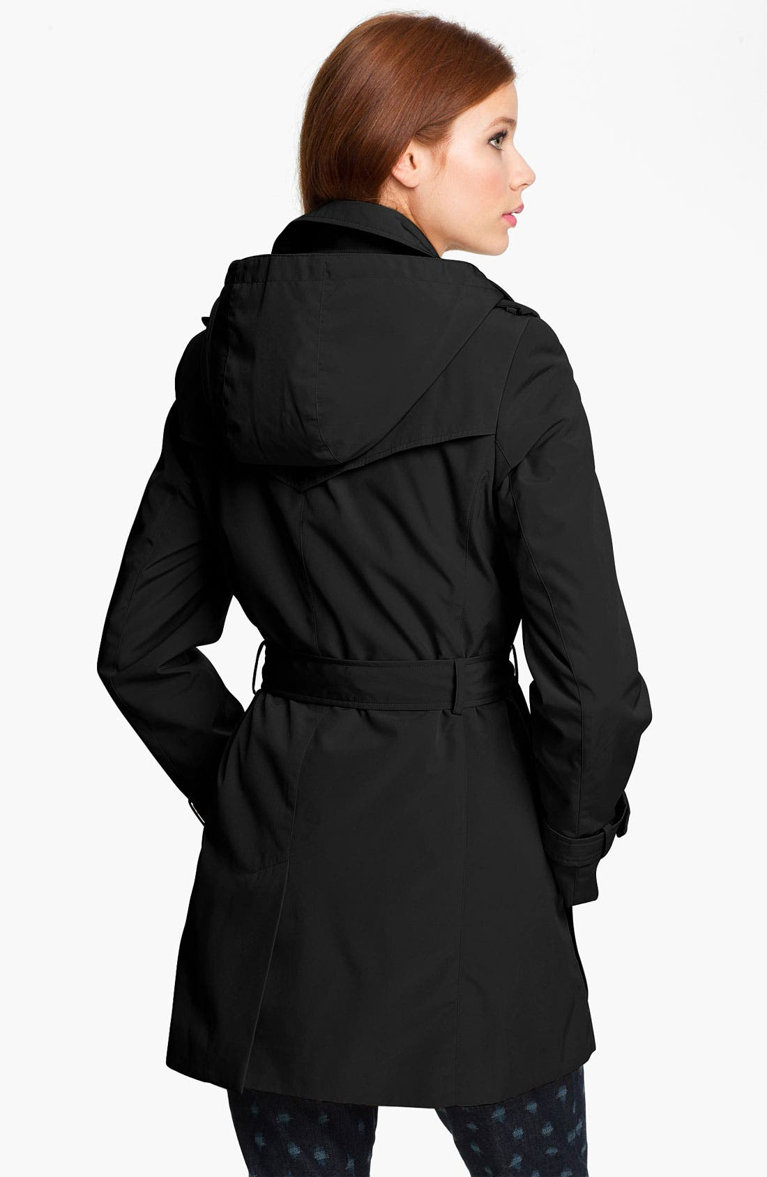 CALVIN KLEIN, Trench Coat with Detachable Liner, Alternate thumbnail 2, color, 001