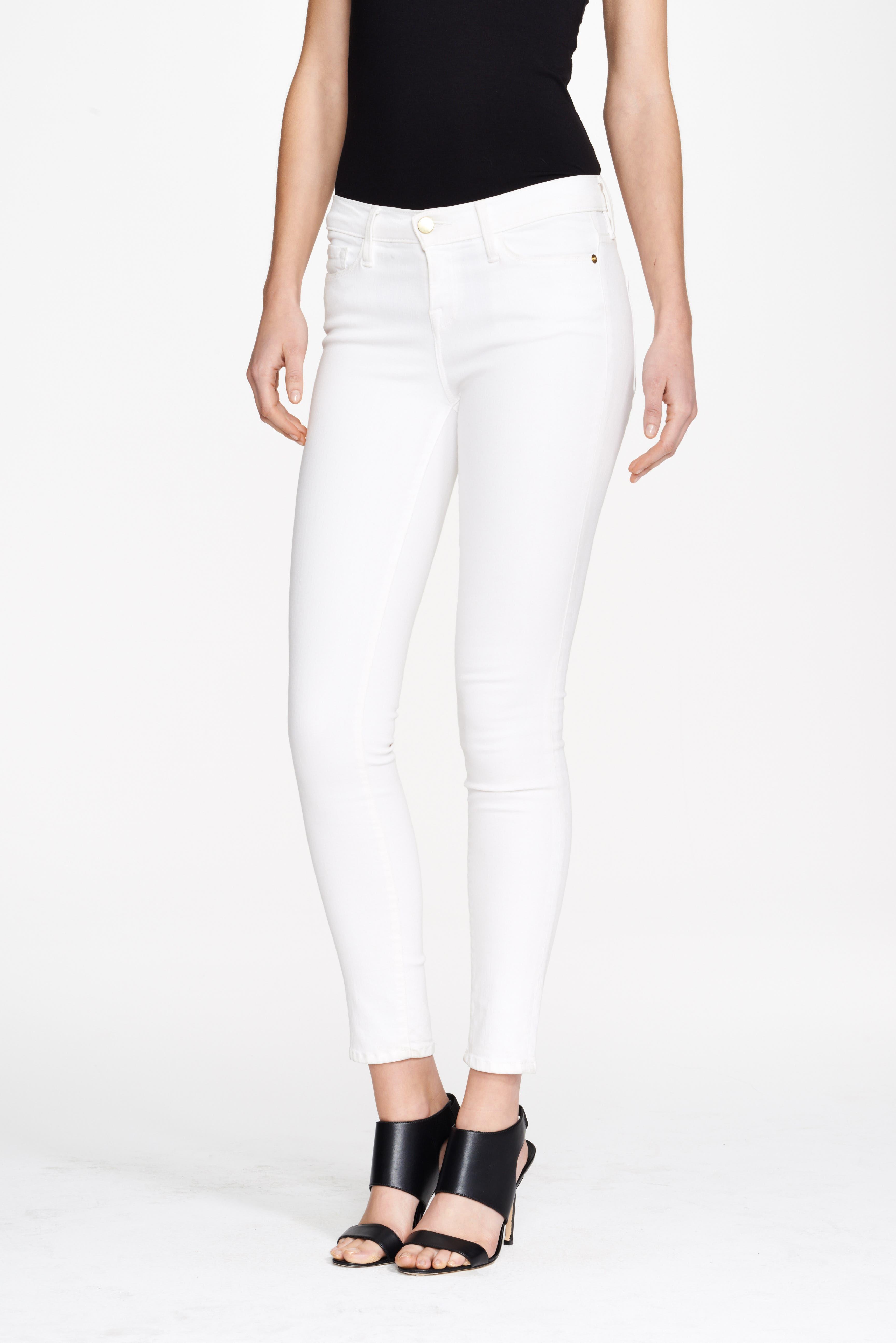FRAME, Le Color Skinny Jeans, Alternate thumbnail 2, color, BLANC