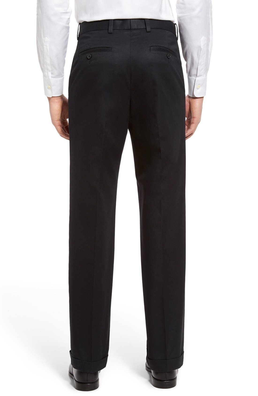 NORDSTROM MEN'S SHOP, Classic Smartcare<sup>™</sup> Supima<sup>®</sup> Cotton Pleated Trousers, Alternate thumbnail 6, color, BLACK CAVIAR