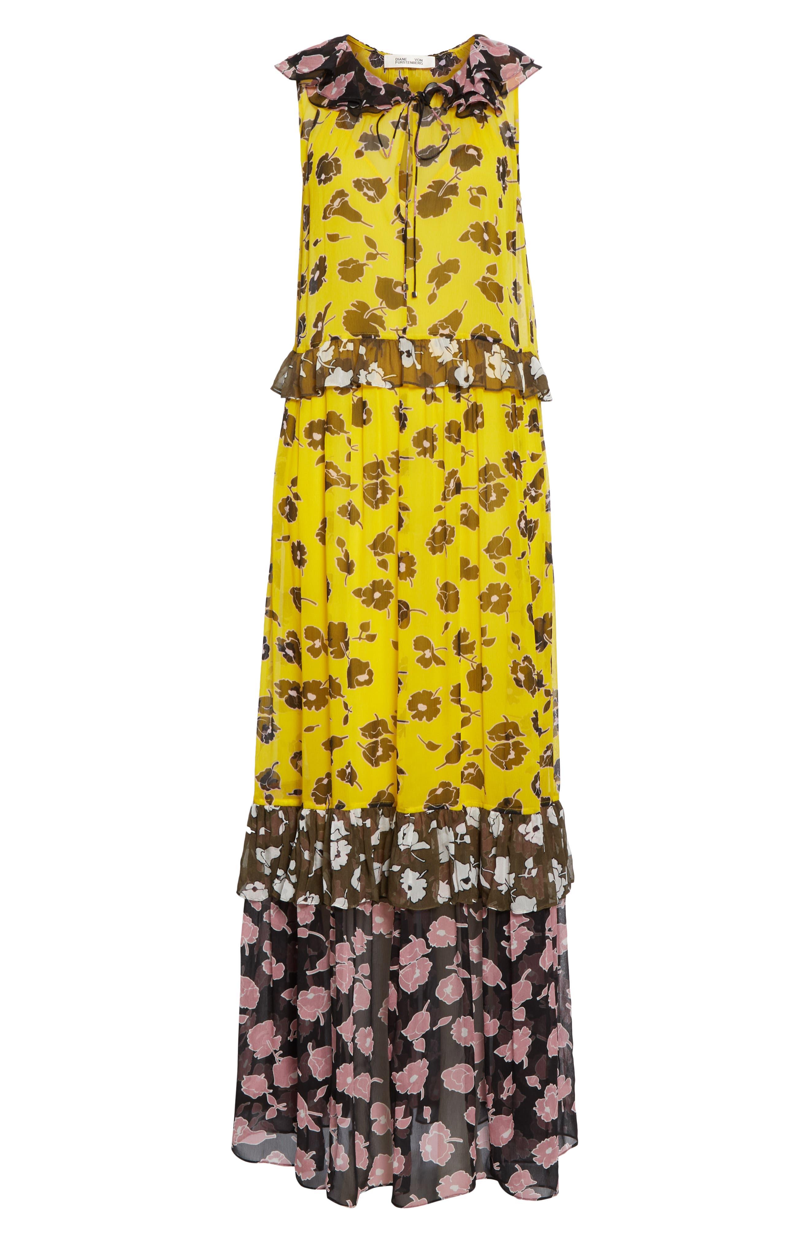 DVF, Drea Pattern Mix Tiered Silk Maxi Dress, Alternate thumbnail 6, color, ROSE SHOWERS GOLDENROD MULTI