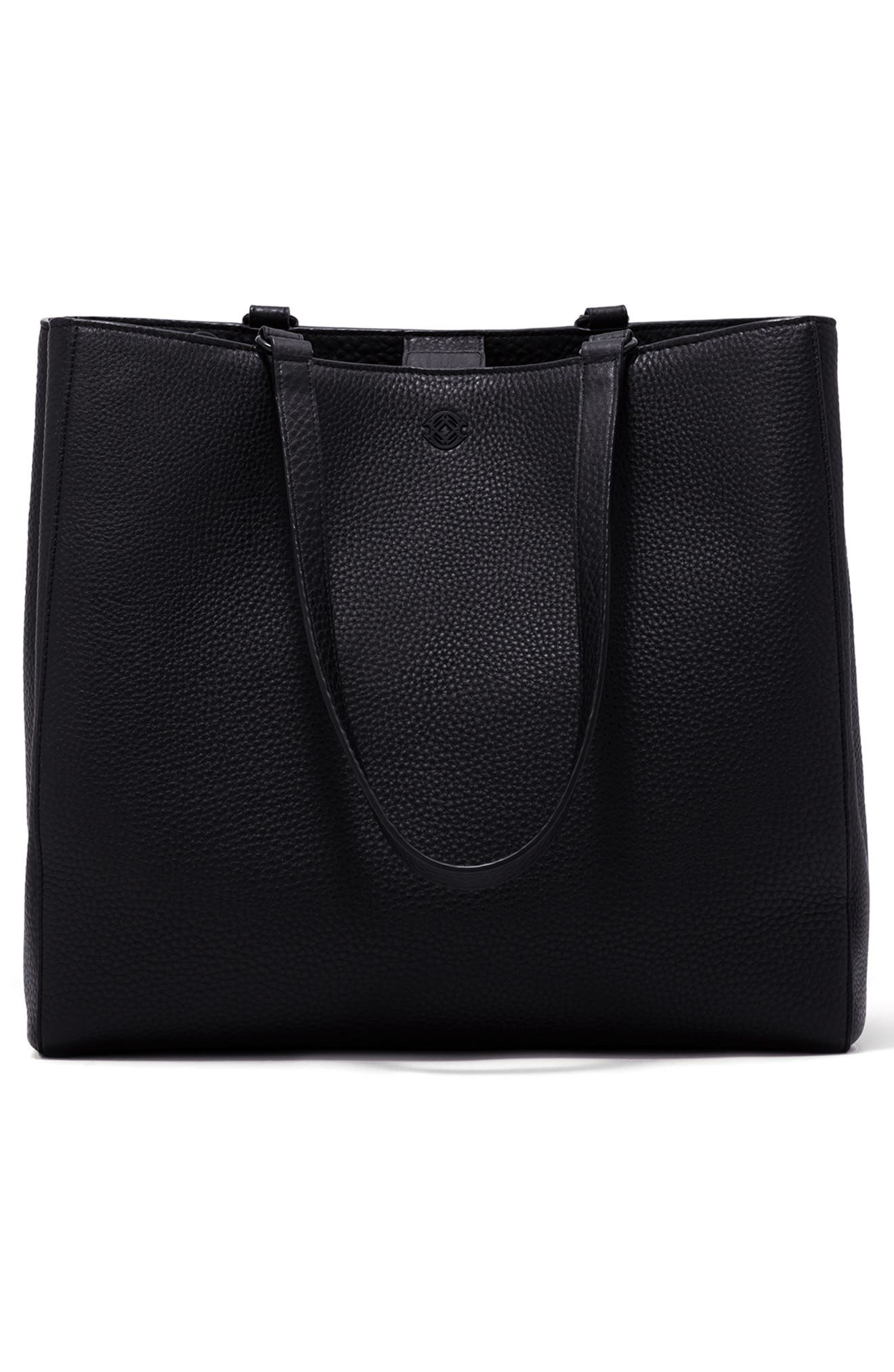 DAGNE DOVER, Large Allyn Leather Tote, Alternate thumbnail 5, color, ONYX