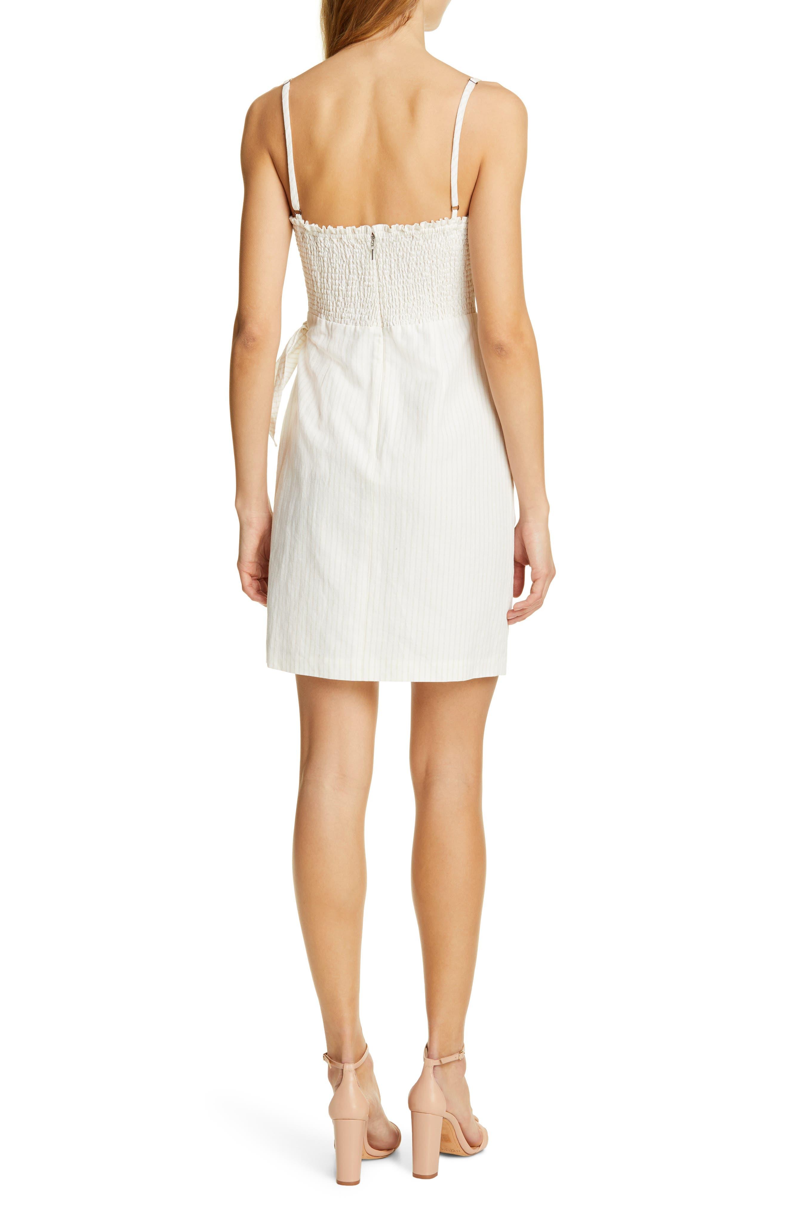 REBECCA TAYLOR, Pinstripe Cotton & Linen Dress, Alternate thumbnail 2, color, SNOW COMBO