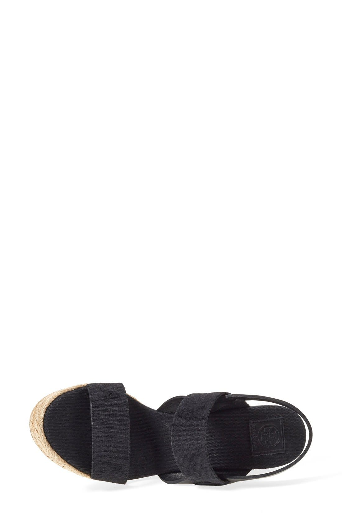 TORY BURCH, Espadrille Wedge Sandal, Alternate thumbnail 4, color, 009