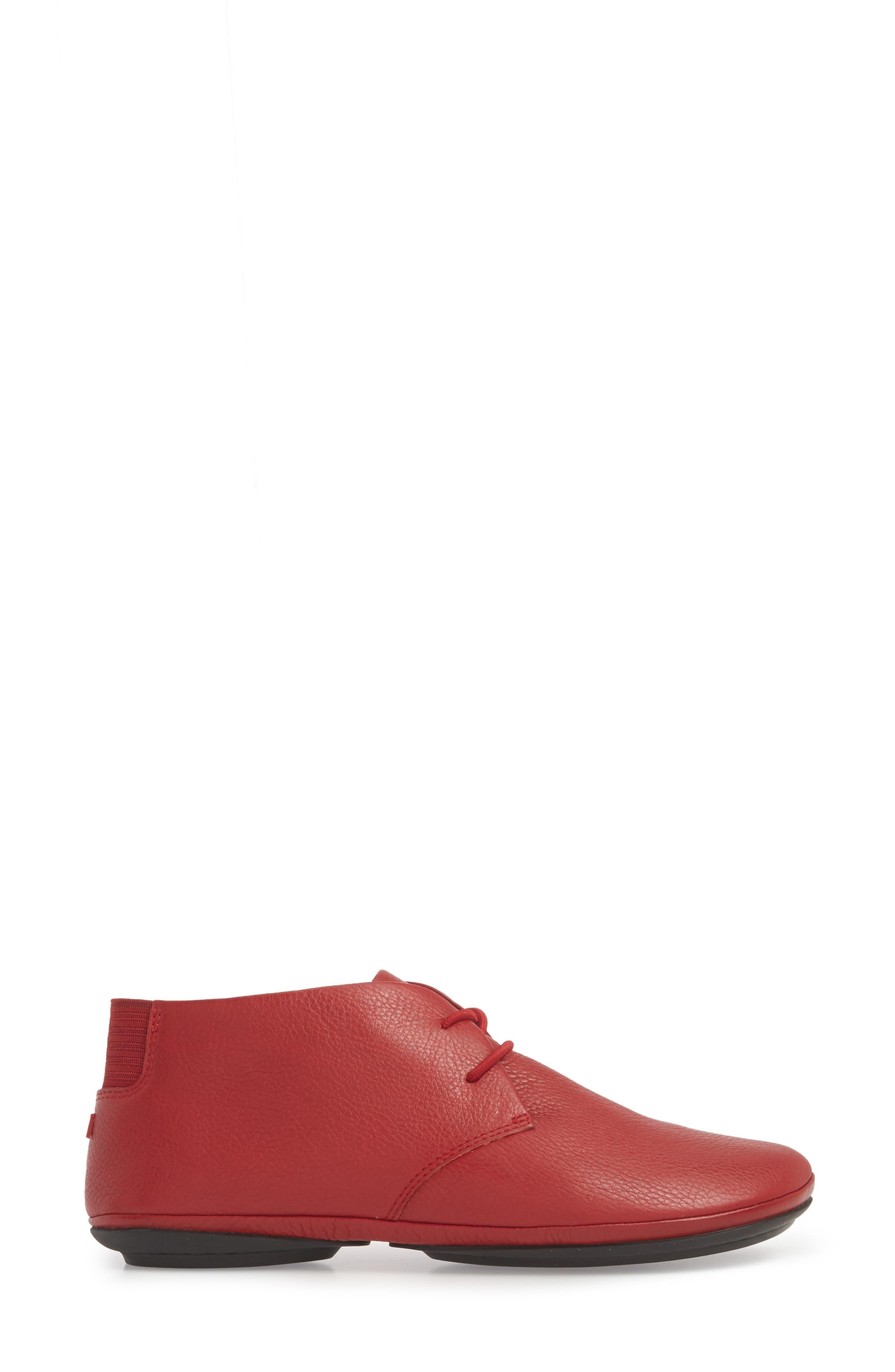 CAMPER, Right Nina Desert Boot, Alternate thumbnail 3, color, MEDIUM RED LEATHER
