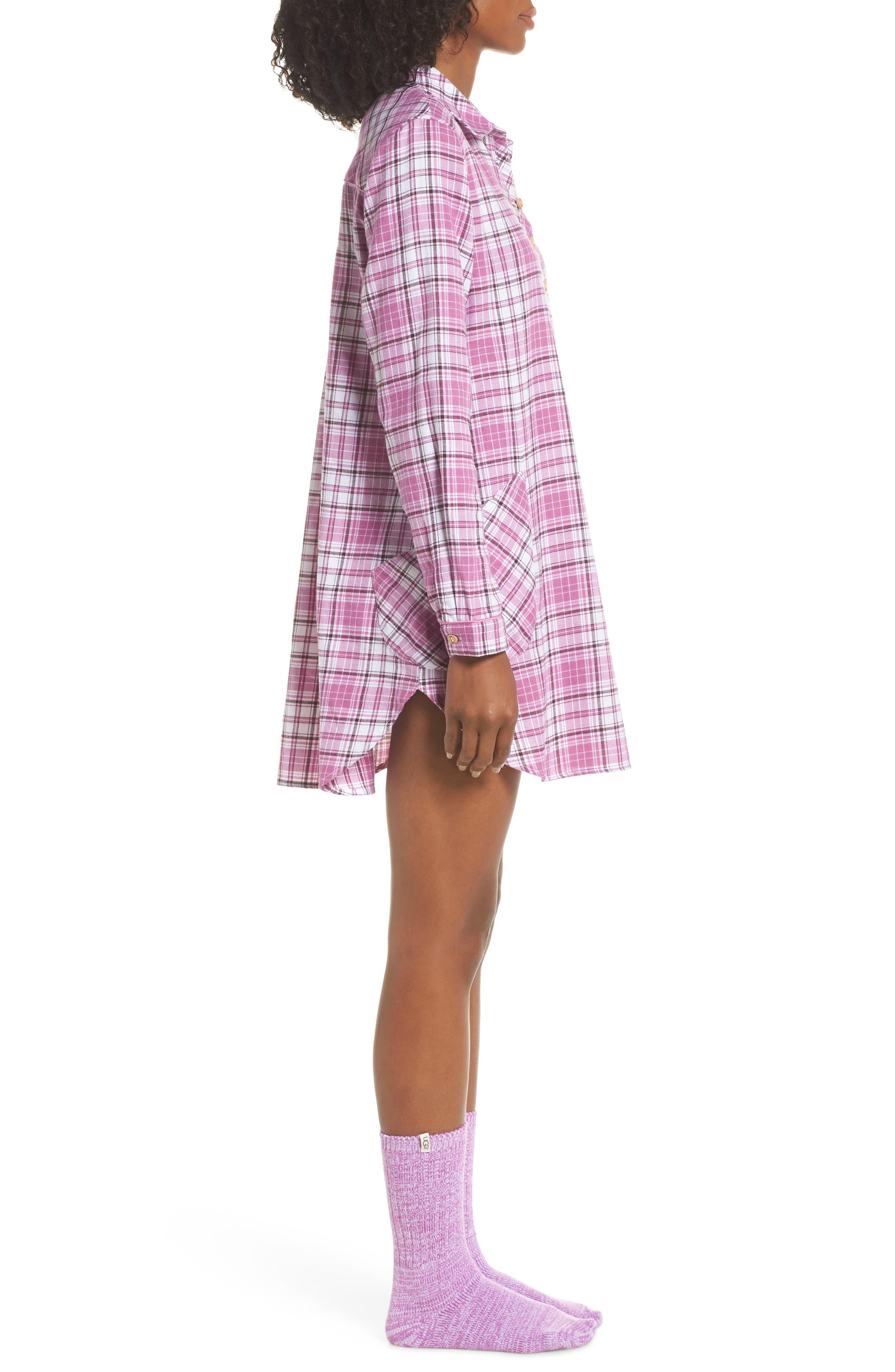 UGG<SUP>®</SUP>, Sleep Shirt & Socks Set, Alternate thumbnail 3, color, BODACIOUS PLAID