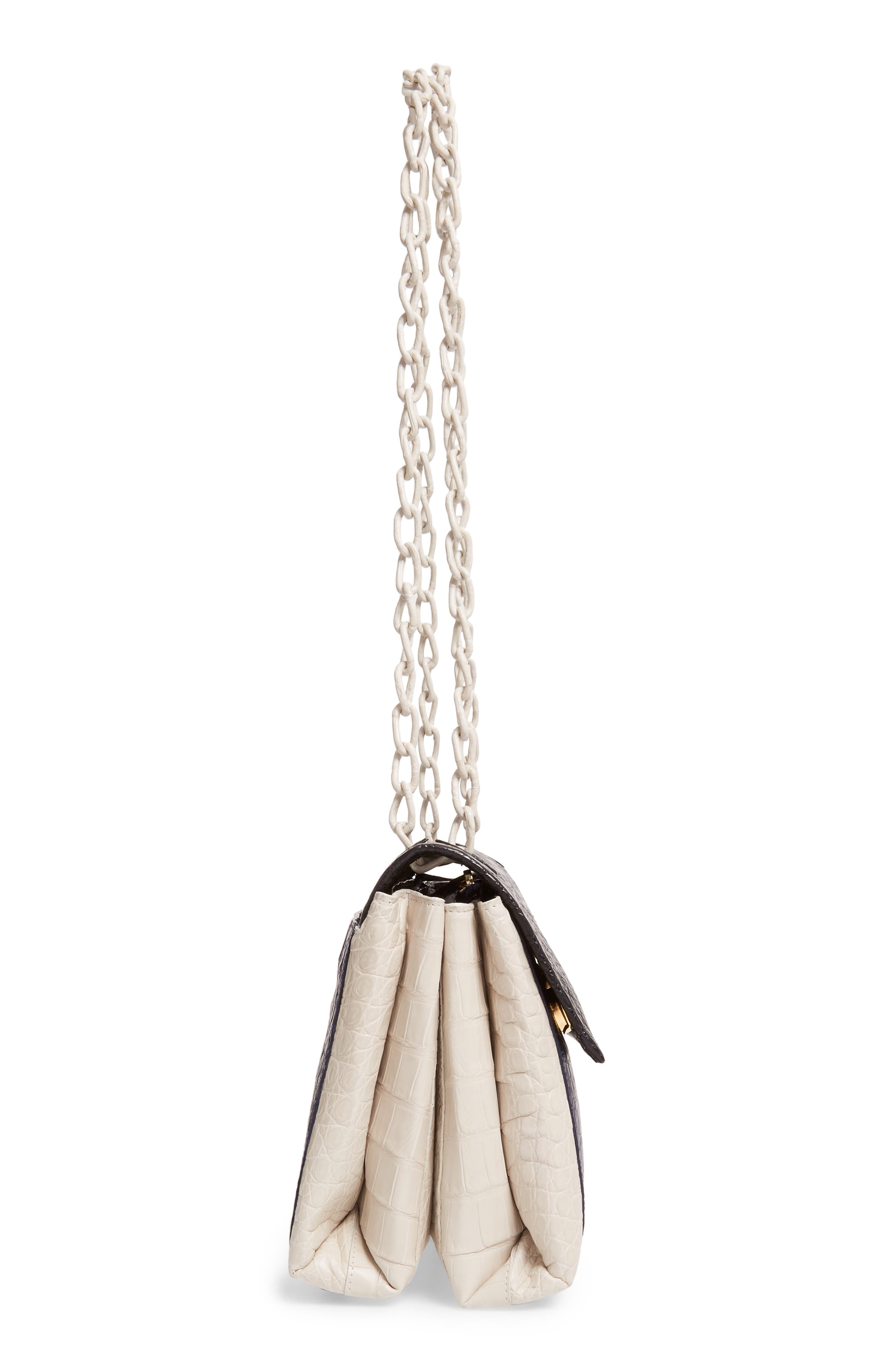 NANCY GONZALEZ, Medium Madison Genuine Crocodile Shoulder Bag, Alternate thumbnail 6, color, BLACK / NAVY/ LIGHT GREY