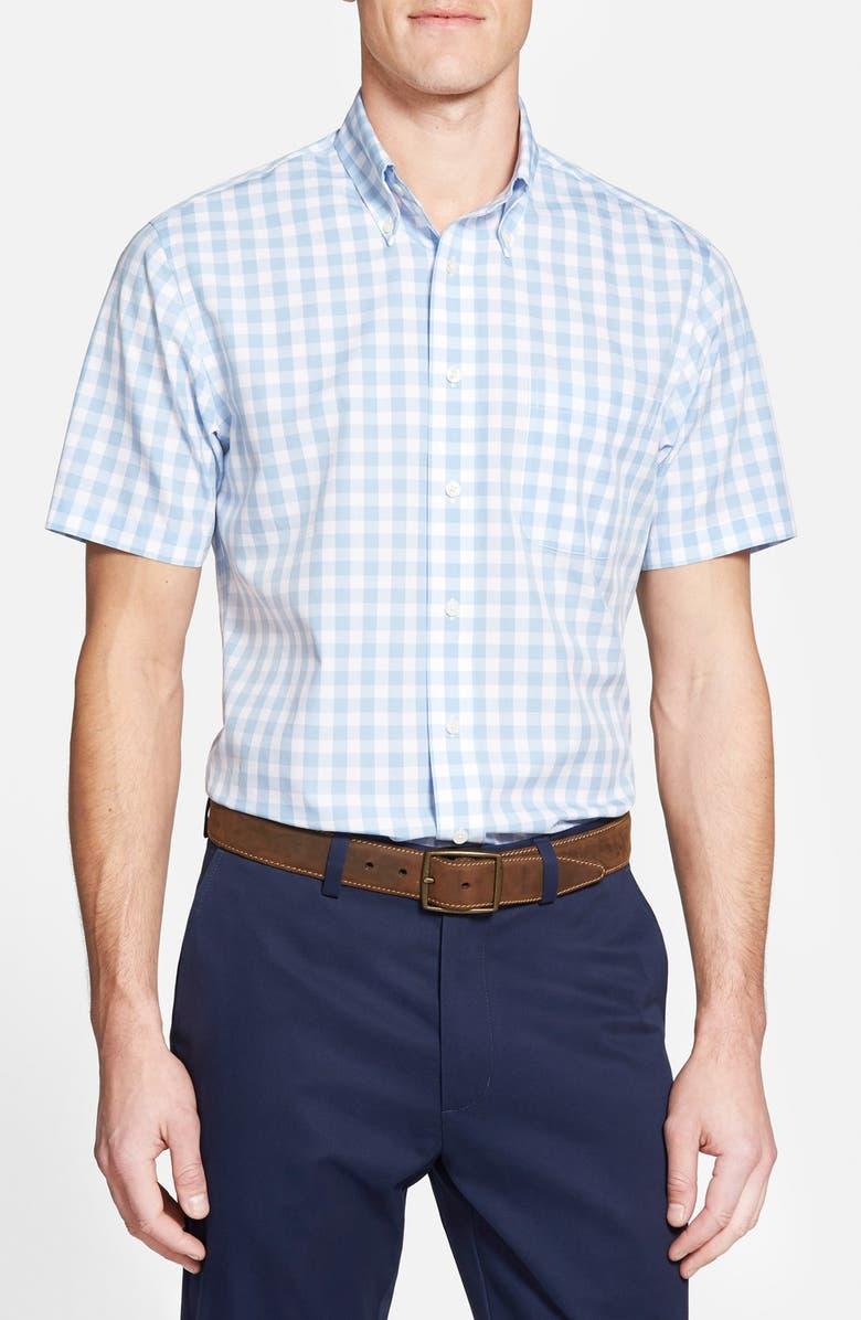 b3f5ffeea8a BROOKS BROTHERS Regent Fit Short Sleeve Gingham Sport Shirt, Main, color,  455